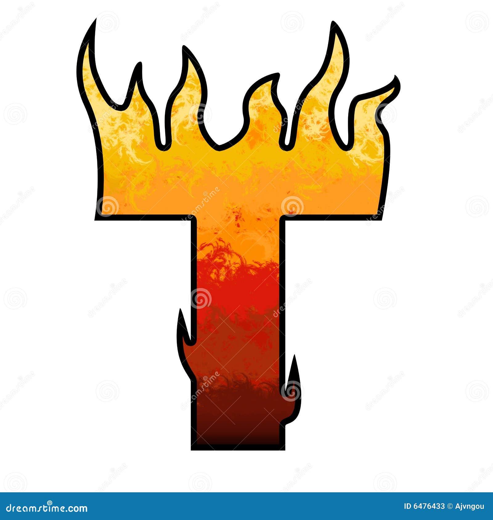 Flames Alphabet Letter T Stock Illustration Illustration Of