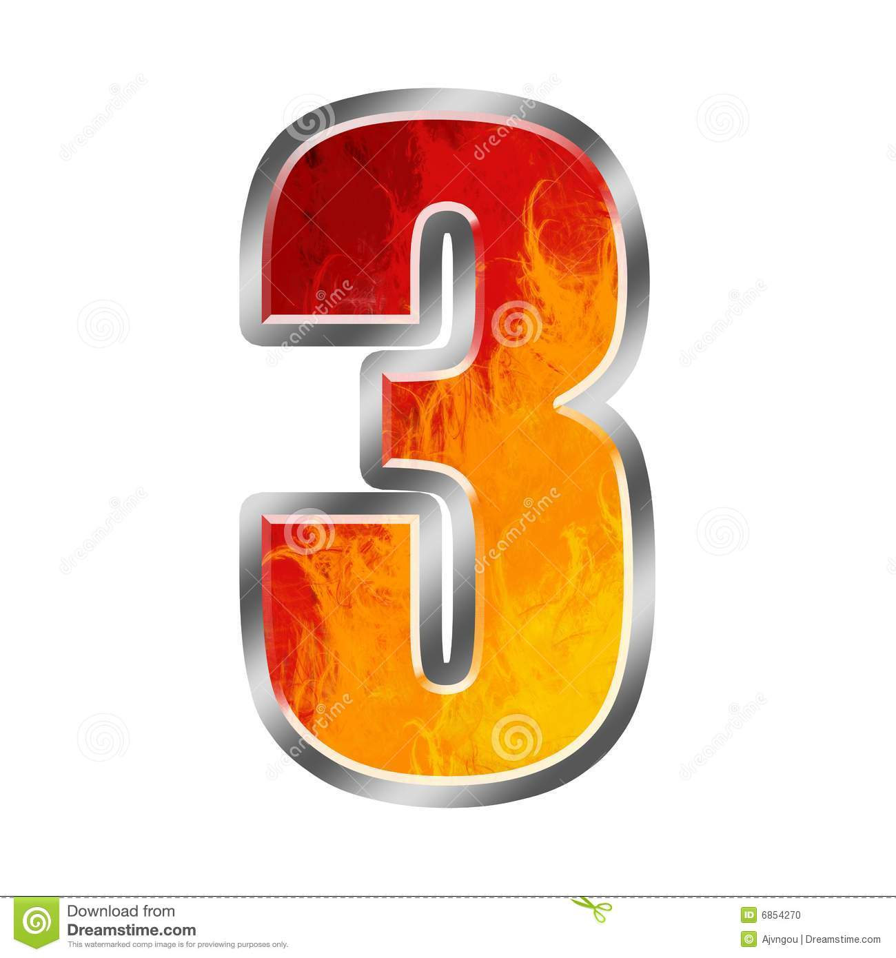 Flames Alphabet Number 3 Three Stock Illustration - Illustration of on
