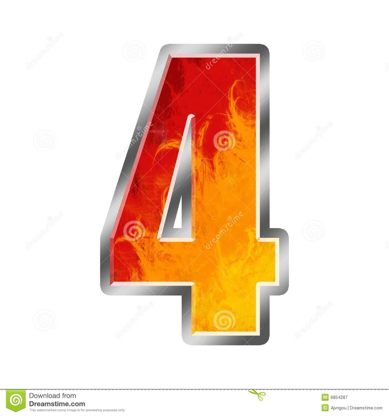 flames alphabet number 4 four royalty free stock