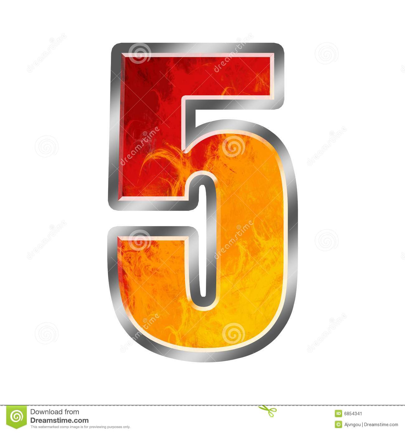 More similar stock images of ` Flames Alphabet number 5 five `