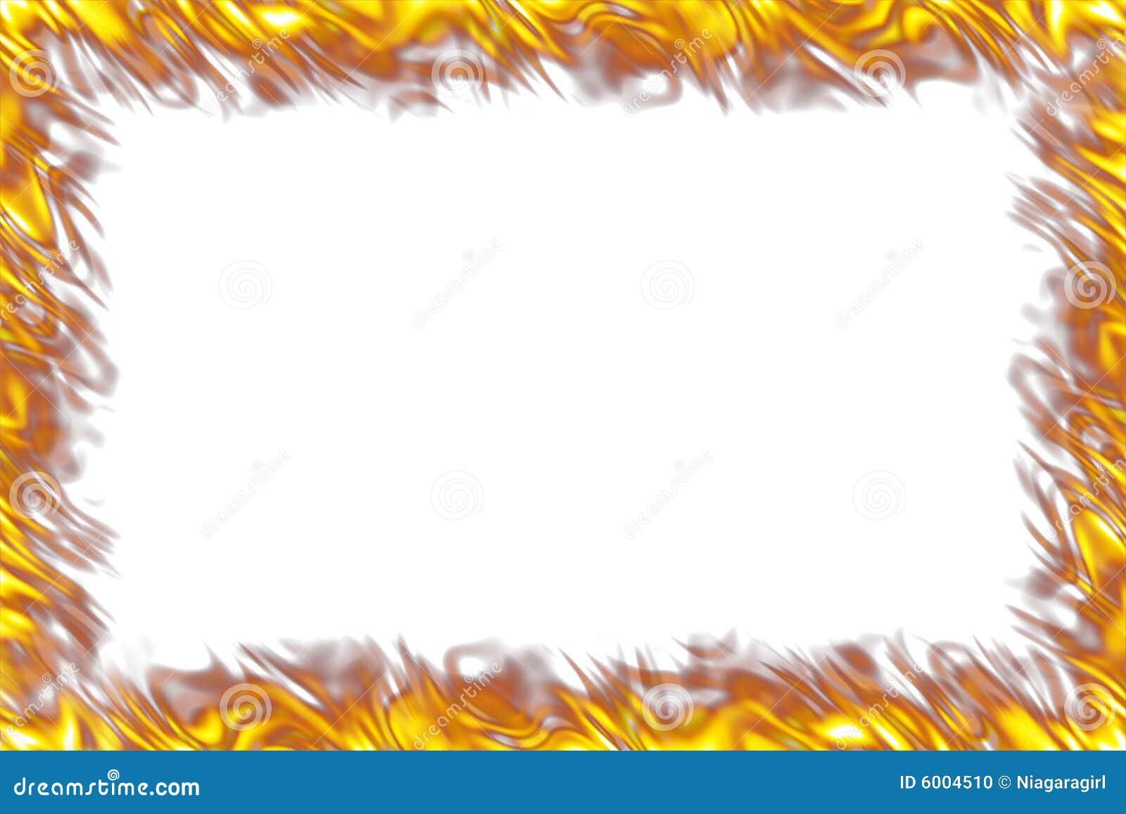Flames Border On White Stock Photo - Image: 6004510
