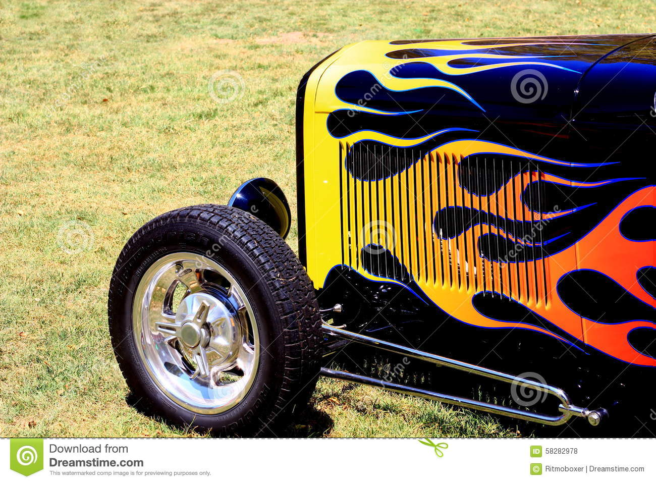 Flames On A Front End Of A Classic Hotrod Stock Photo - Image of