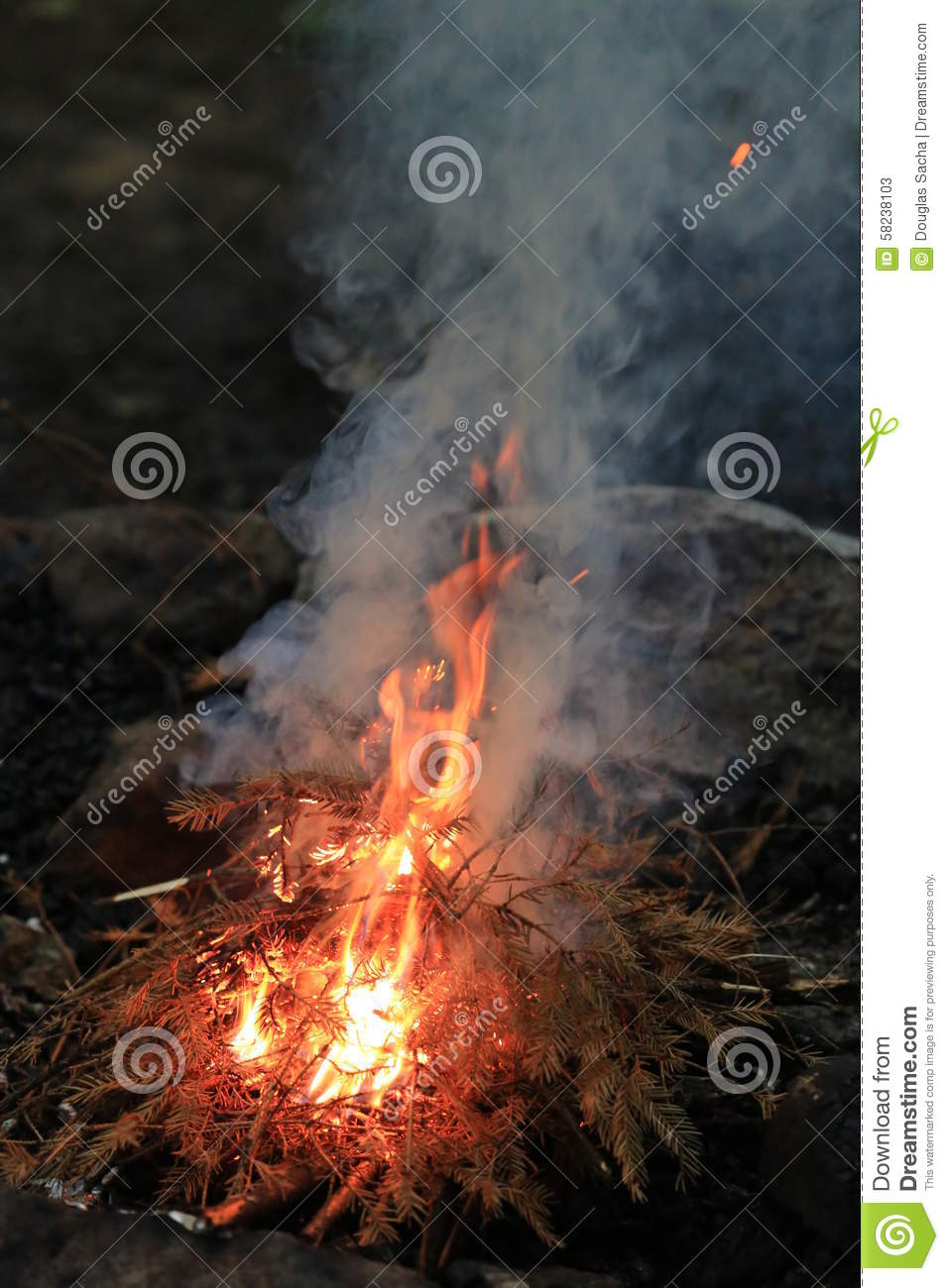 Flames And Smoke Rise From The Fire Stock Photo Image