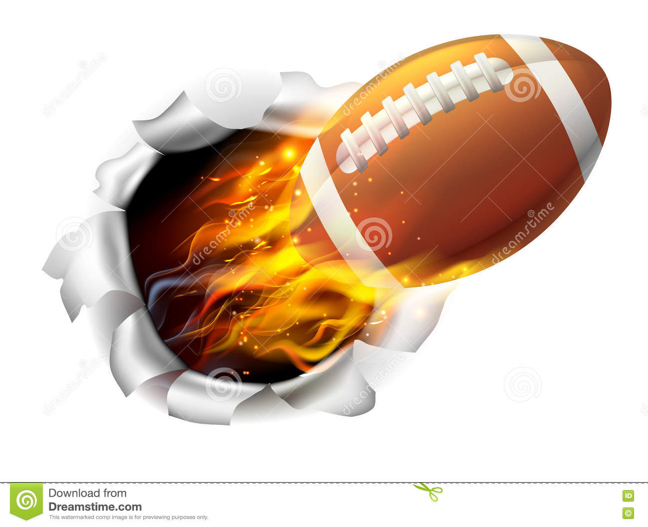 The Gallery For Flaming Football Background Images: Flaming American Football Ball Tearing A Hole In The
