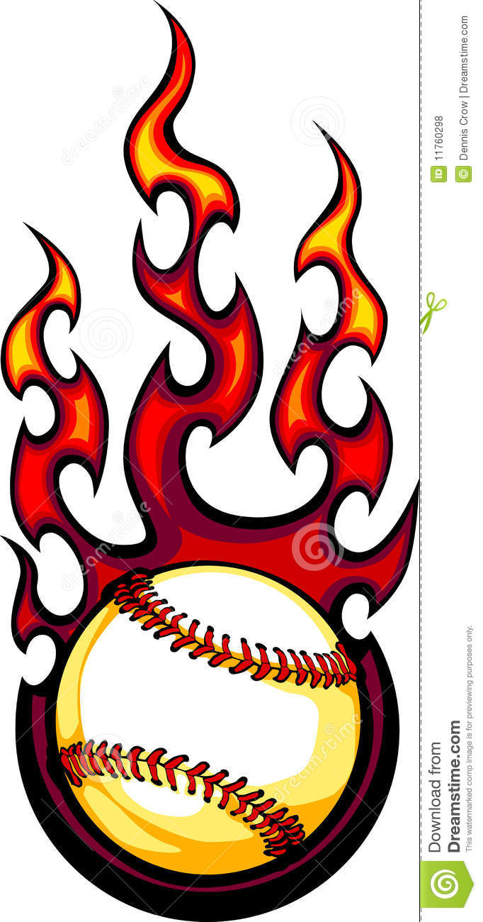 Flaming Baseball Or Softball Ball Logo Royalty Free Stock Photos ...