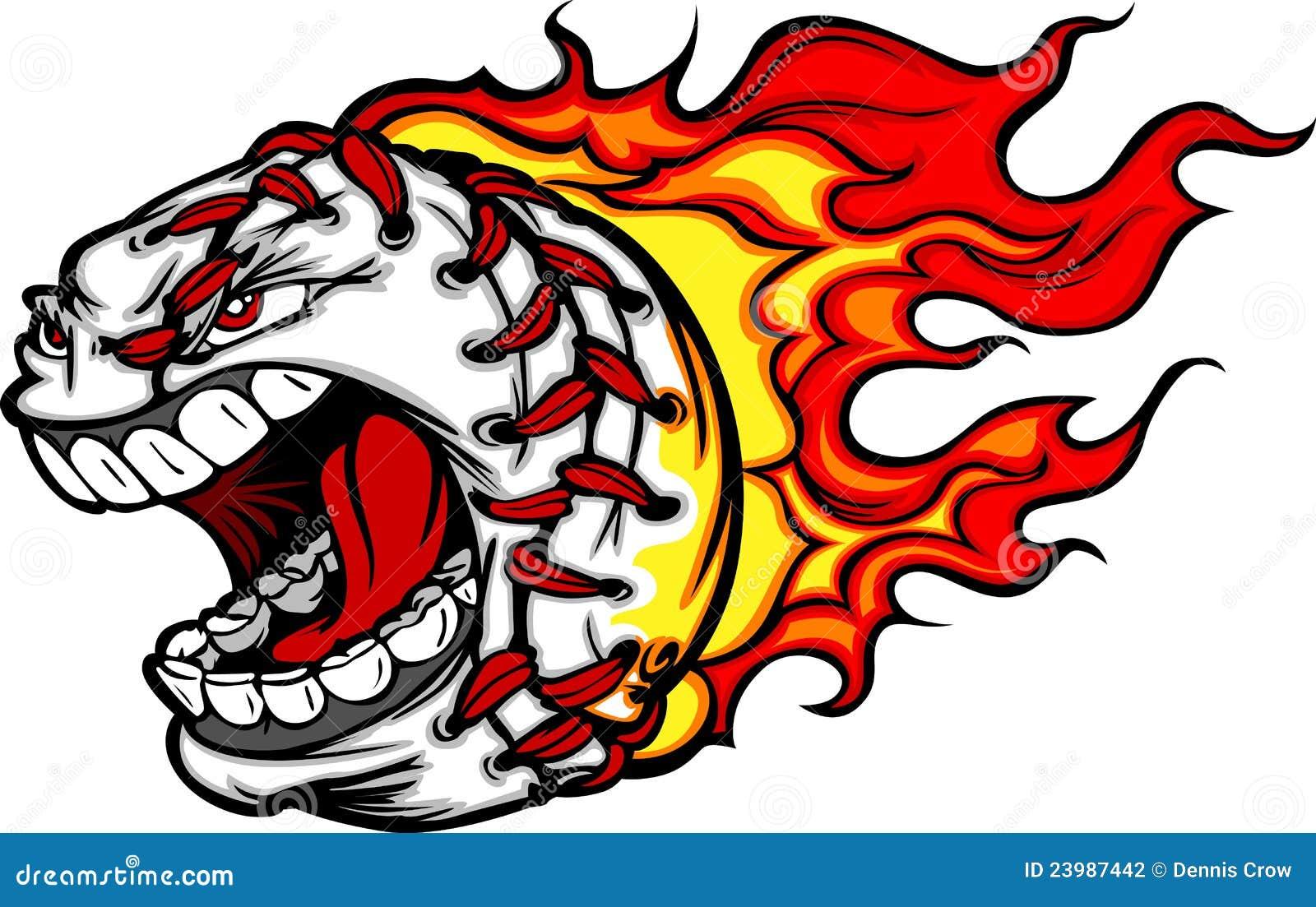 flaming baseball or softball face cartoon stock vector