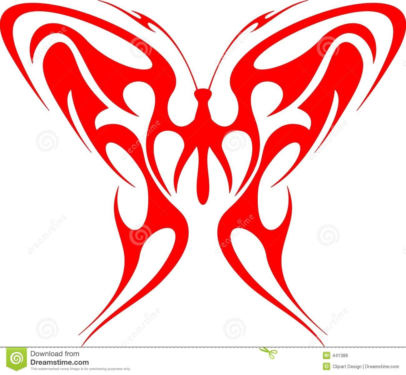 Flaming Butterfly Tribal (Vector) 1 Royalty Free Stock ...