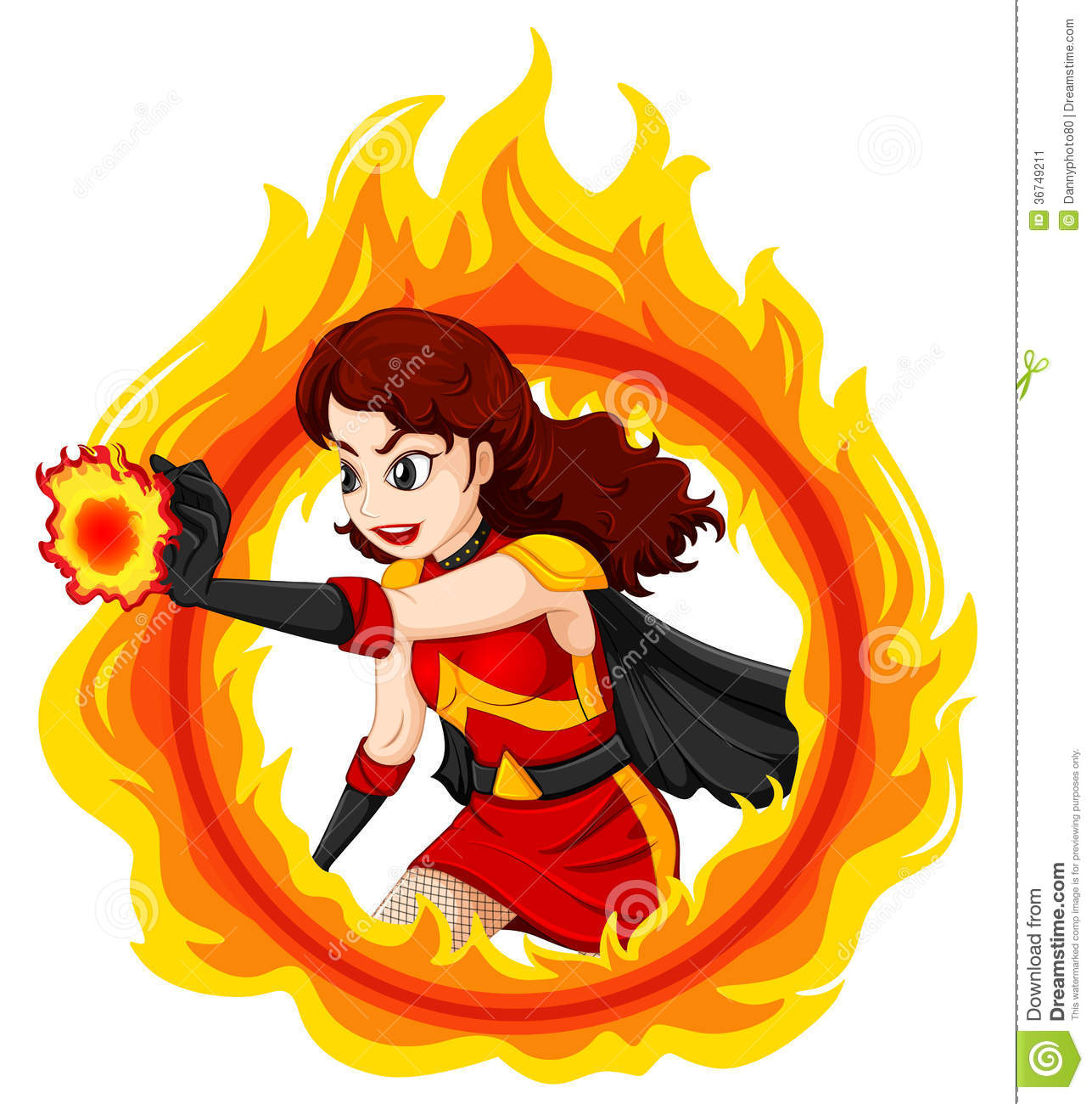 Illustration of a flaming female superhero on a white background.