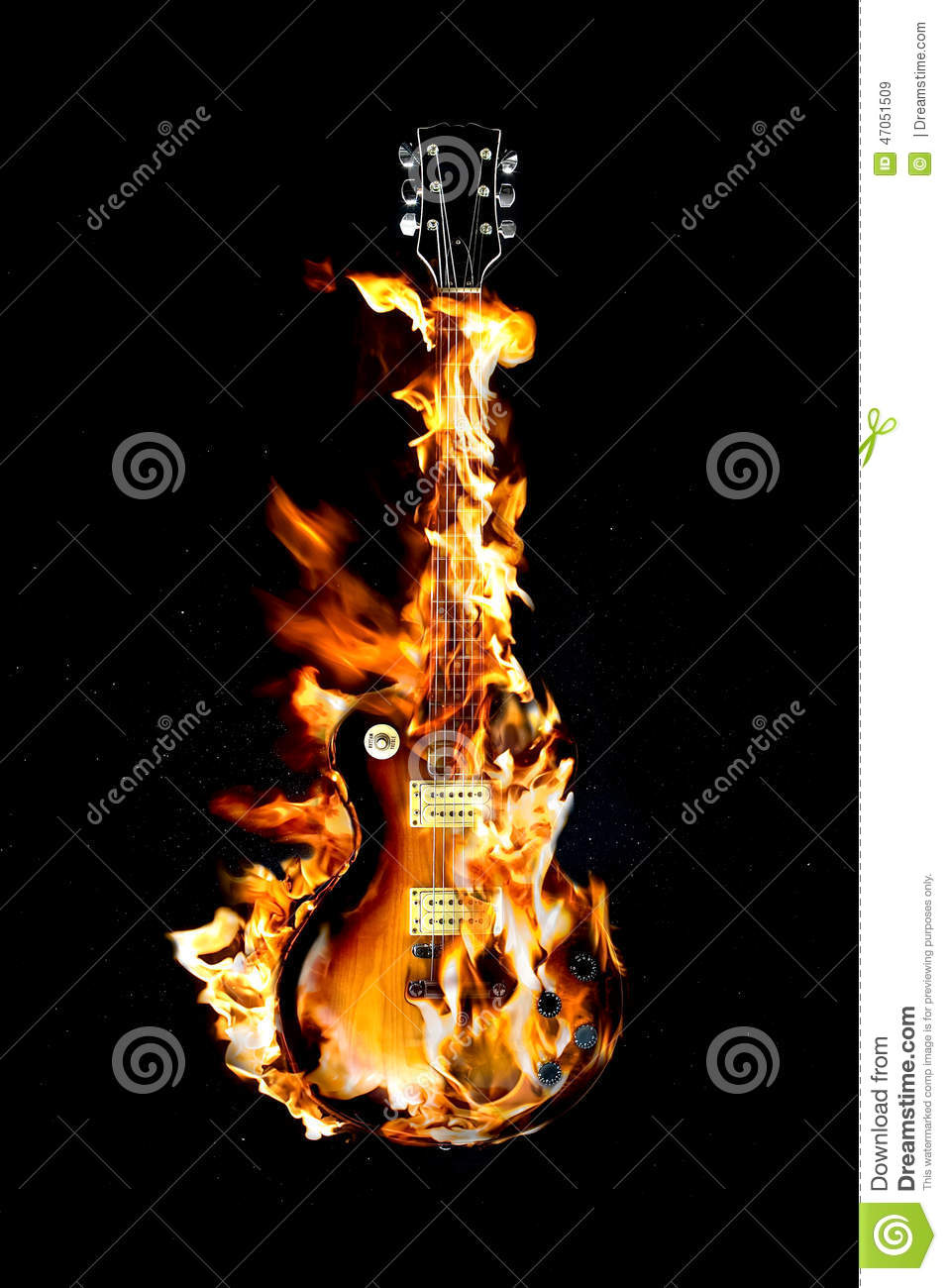 Flaming Guitar Stock Image Of Melting Knob Fire