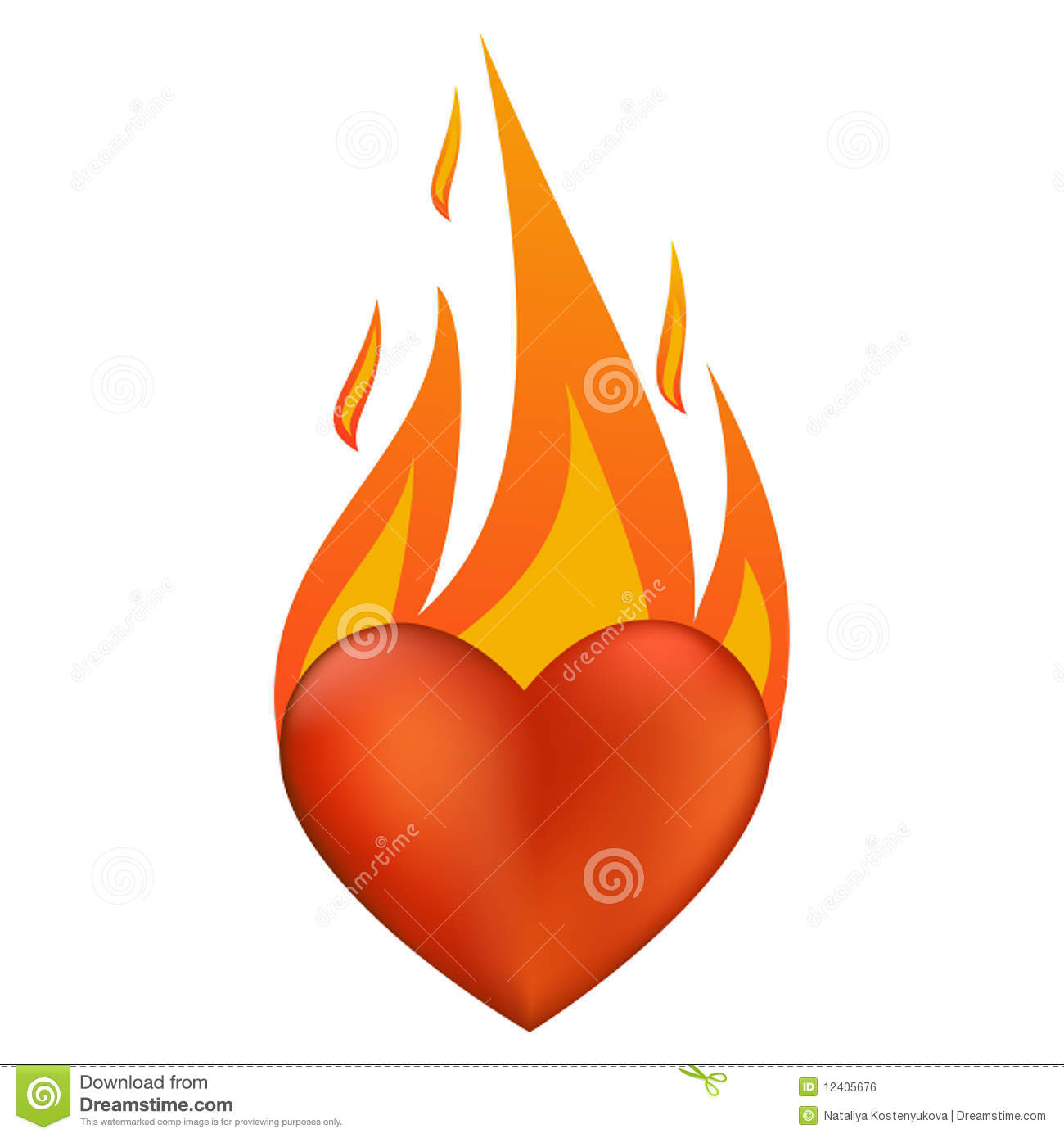 90151c2c2117 Flaming heart stock vector. Illustration of love