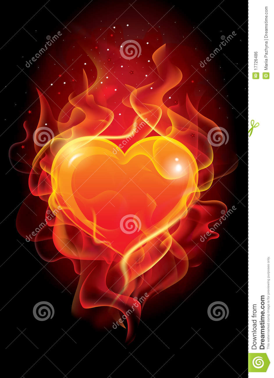 bd91838d3d87 Flaming heart stock vector. Illustration of flame