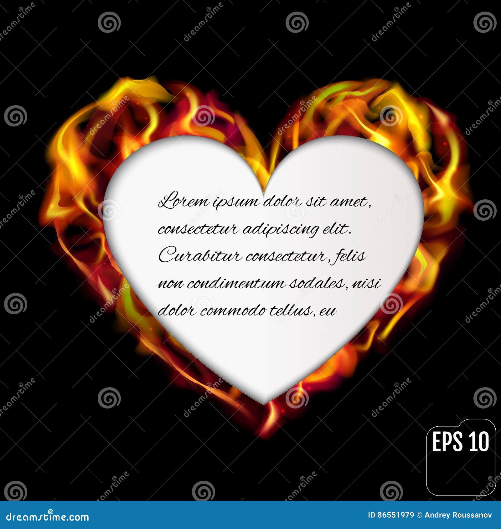 Flaming Heart Isolated On Black Background Love Symbolautifu