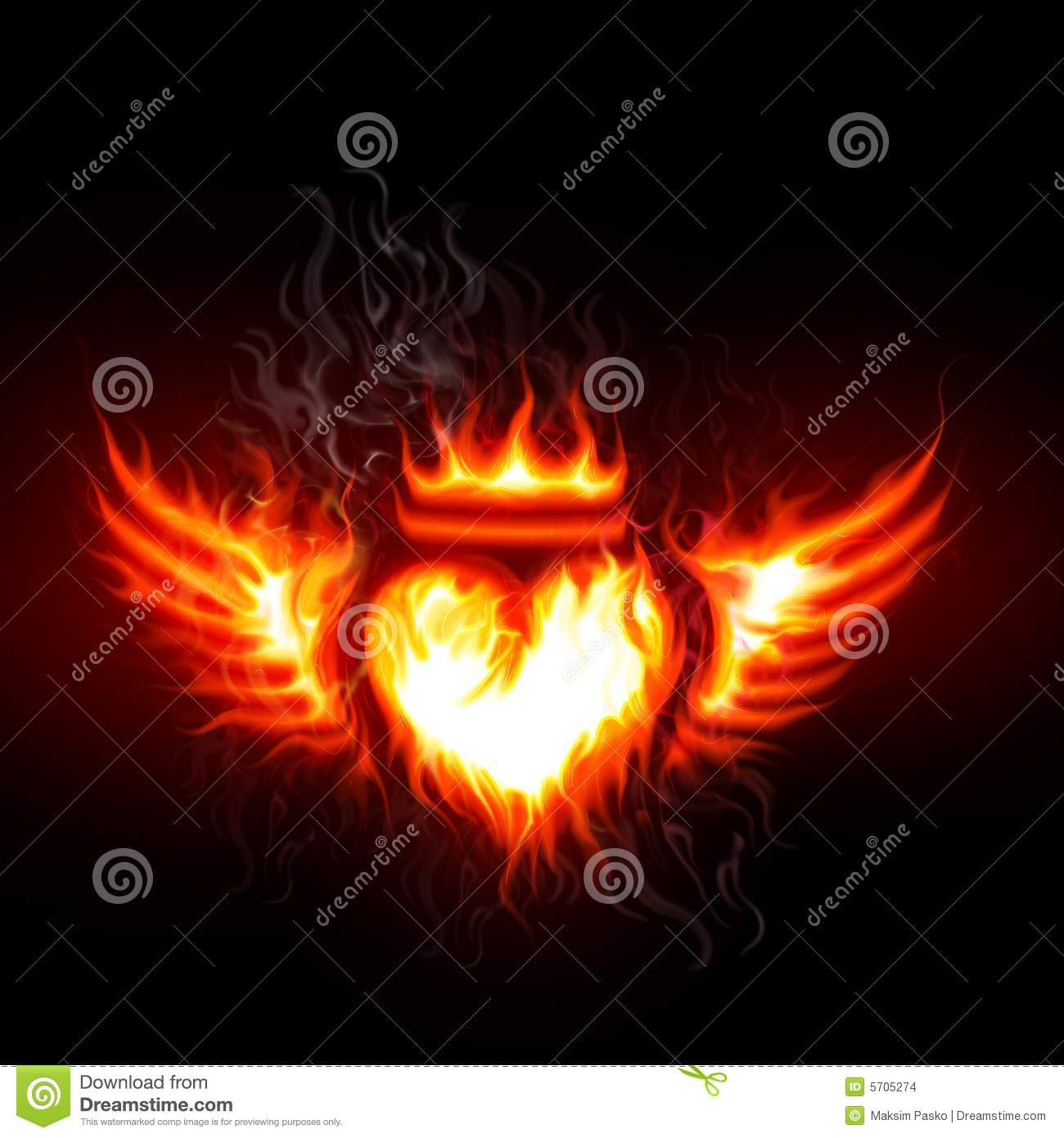 flaming heart and wings stock images
