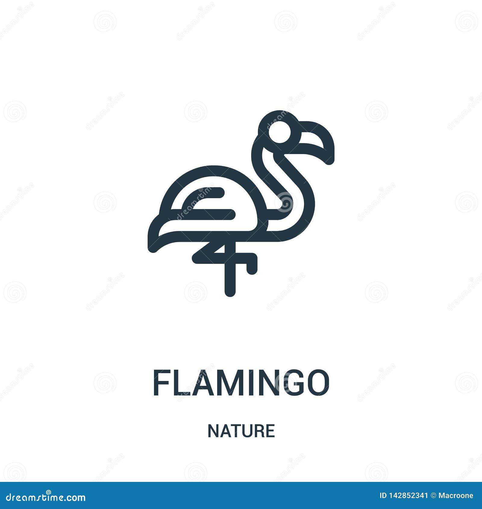 Flaming ikony wektor od natury kolekcji Cienka kreskowa flaminga konturu ikony wektoru ilustracja Liniowy symbol dla używa na sie