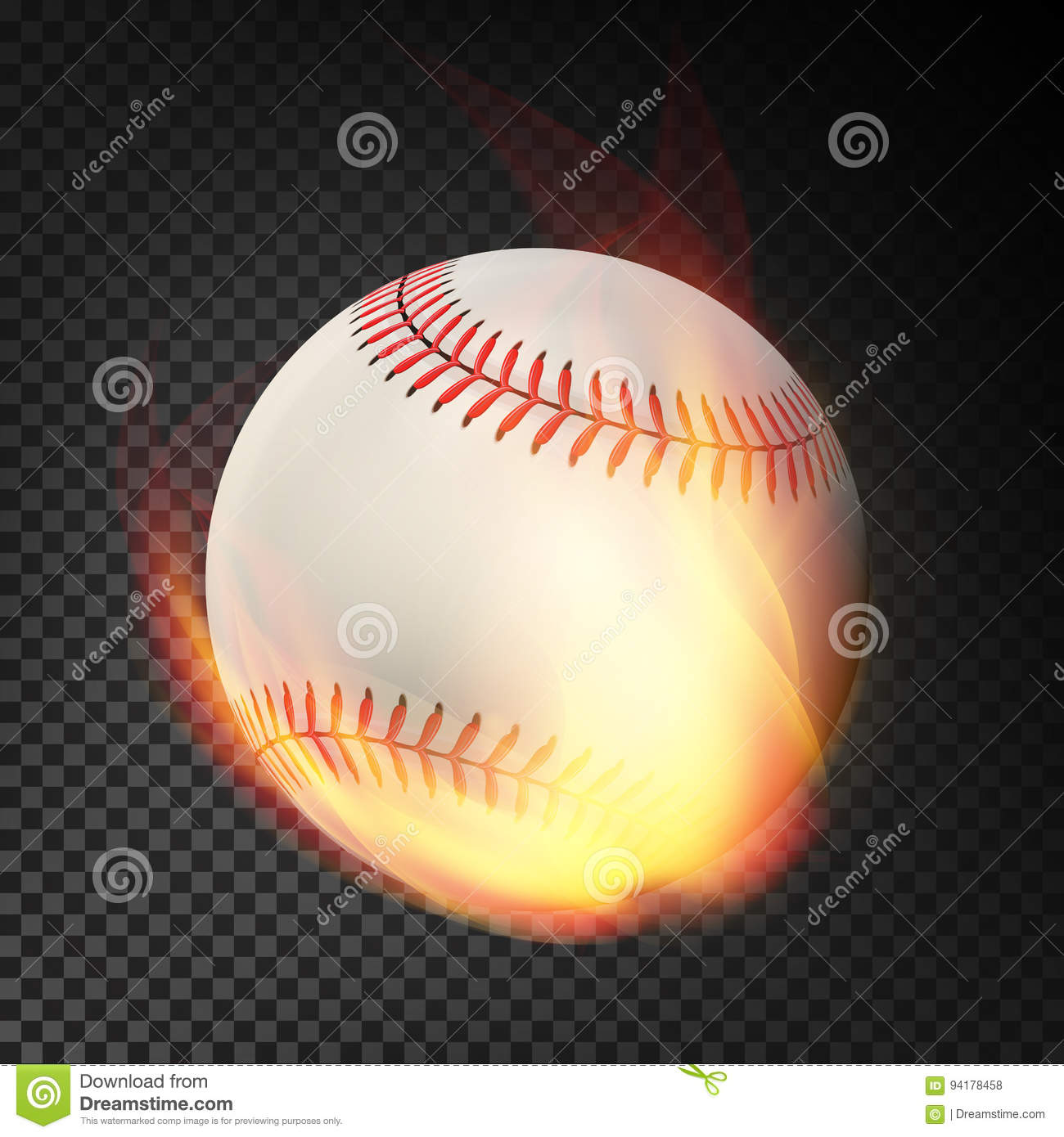 Flaming Realistic Baseball Ball On Fire Flying Through The Air. Burning Ball On Transparent Background