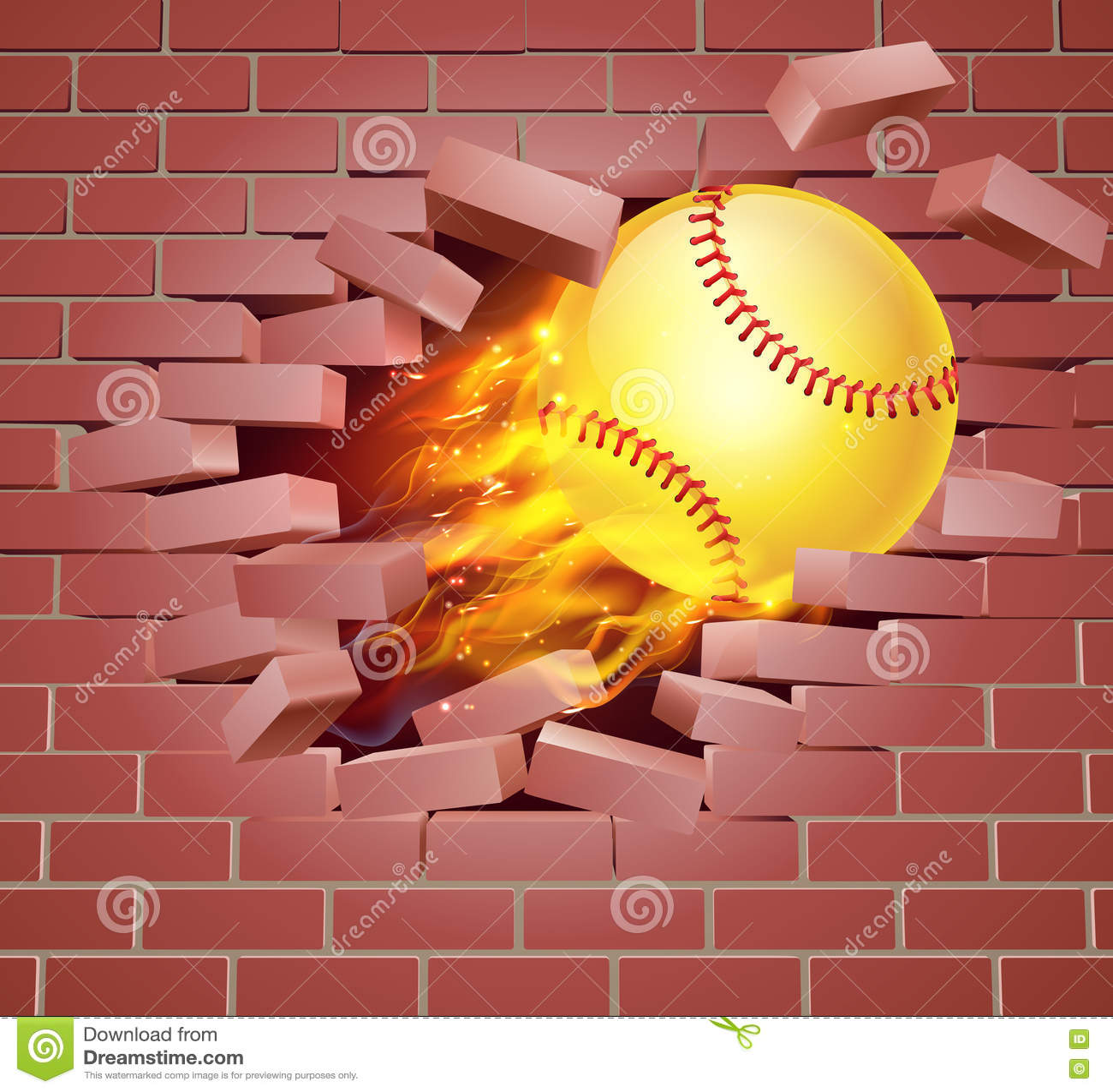 Flaming Softball Ball Breaking Through Brick Wall Stock Vector