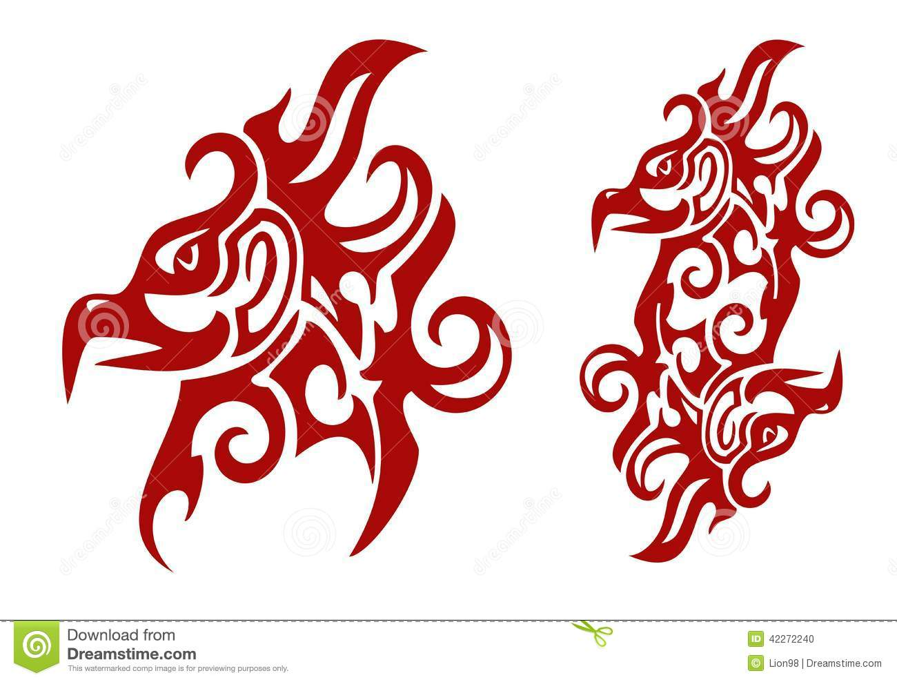 16c95f38e Flaming Tribal Phoenix Head And Double Sign Of The Phoenix Stock ...