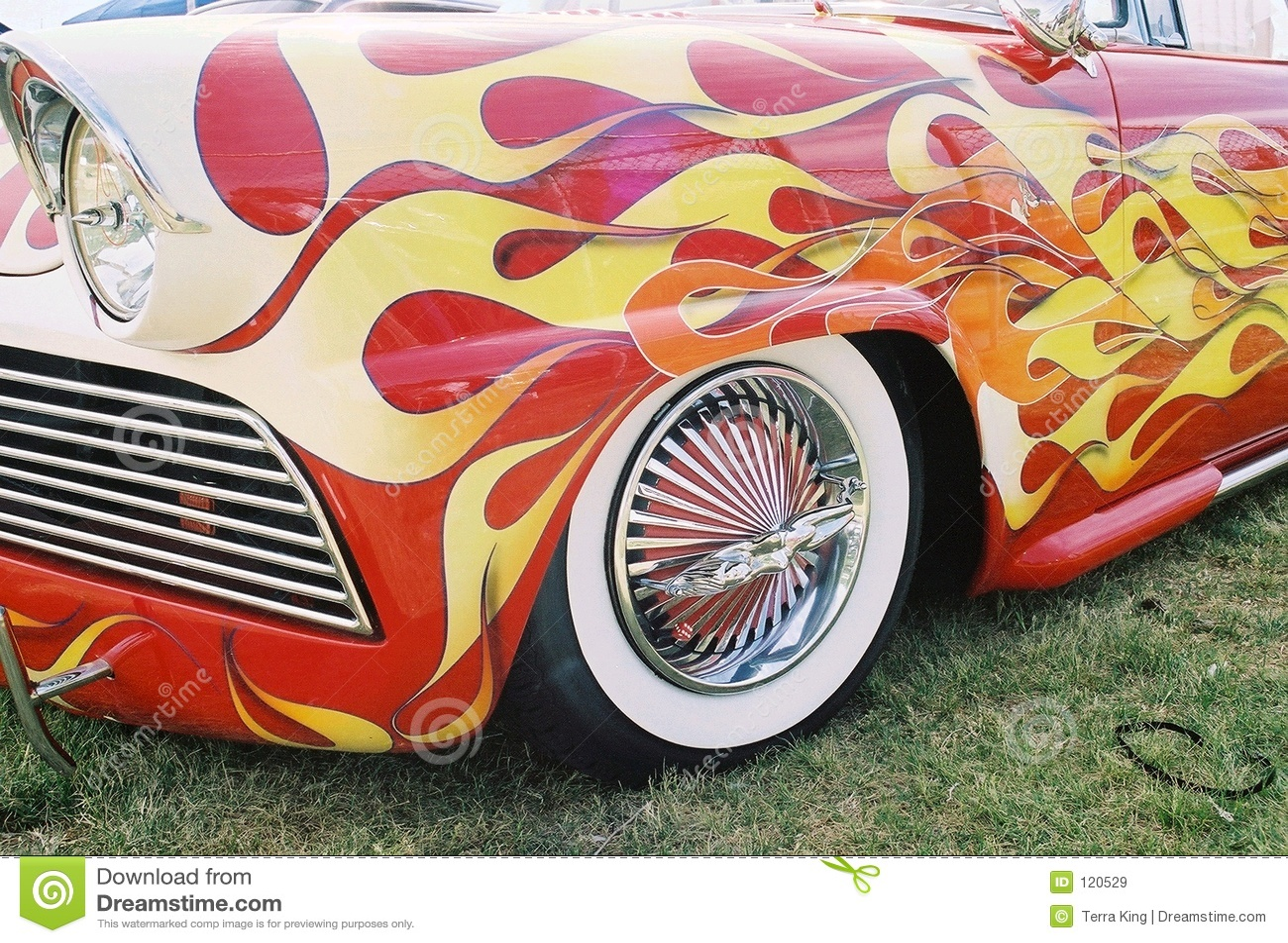 Flaming vintage car w/ naked lady rims