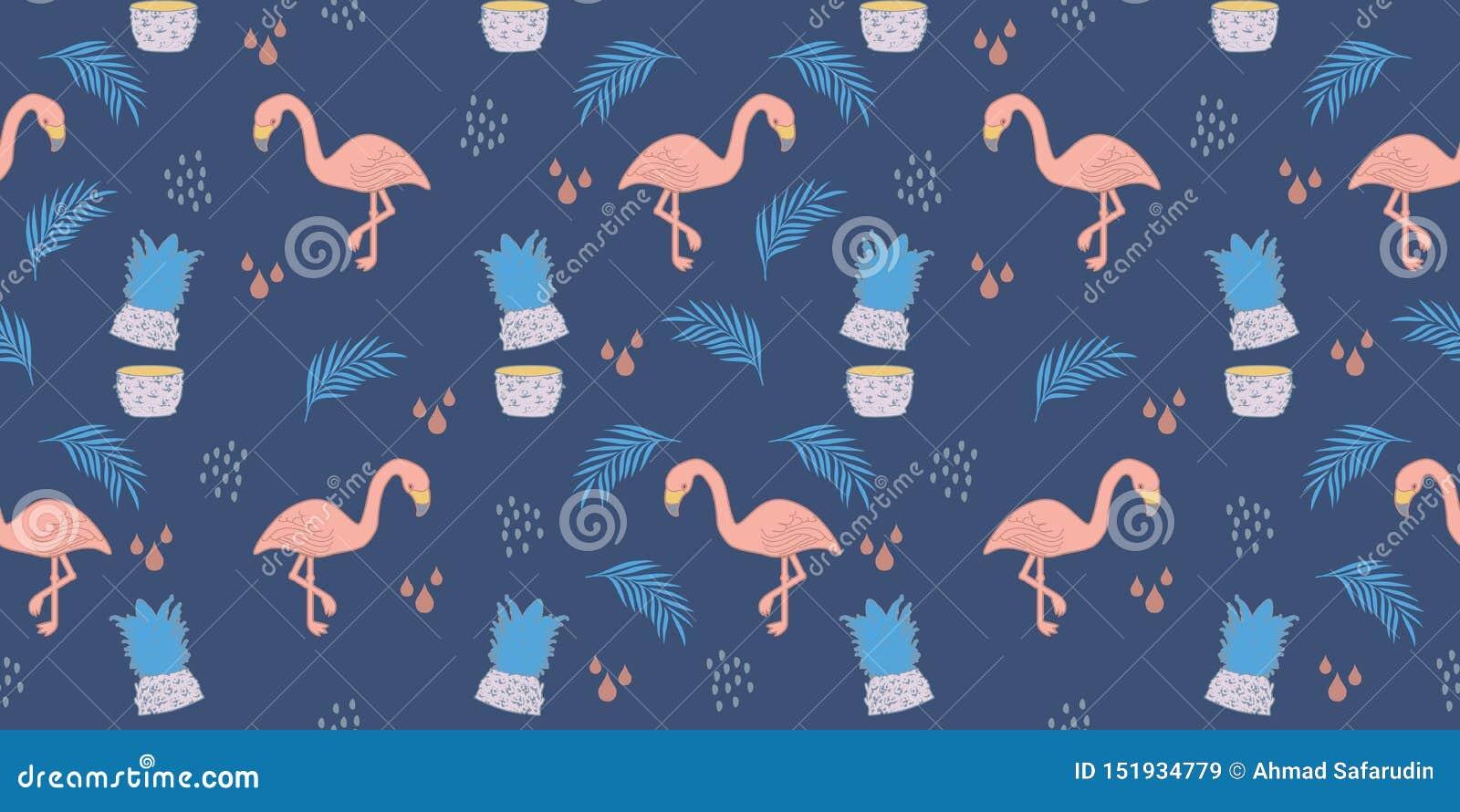 Flaminga lata wzór Modnego egzotycznego tropikalnego pastelowych kolorów tła bezszwowy rysunek