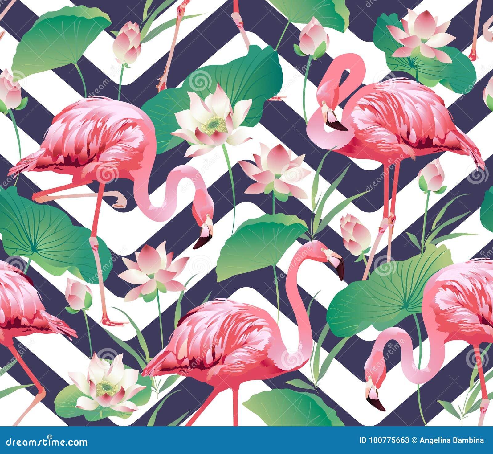 Flaminga ptak i Tropikalny lotosowych kwiatów tło - Bezszwowy wzór