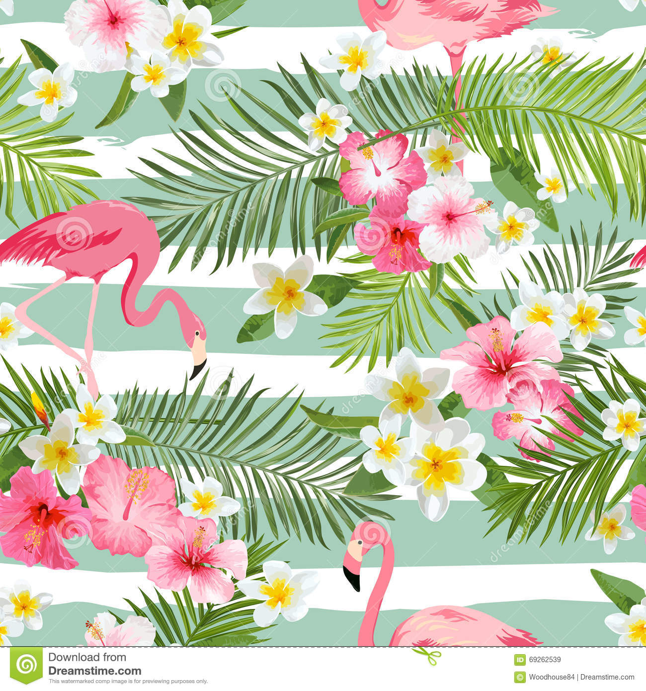Vintage Style Tropical Bird And Flowers Background: Flamingo Background. Tropical Flowers Background Stock