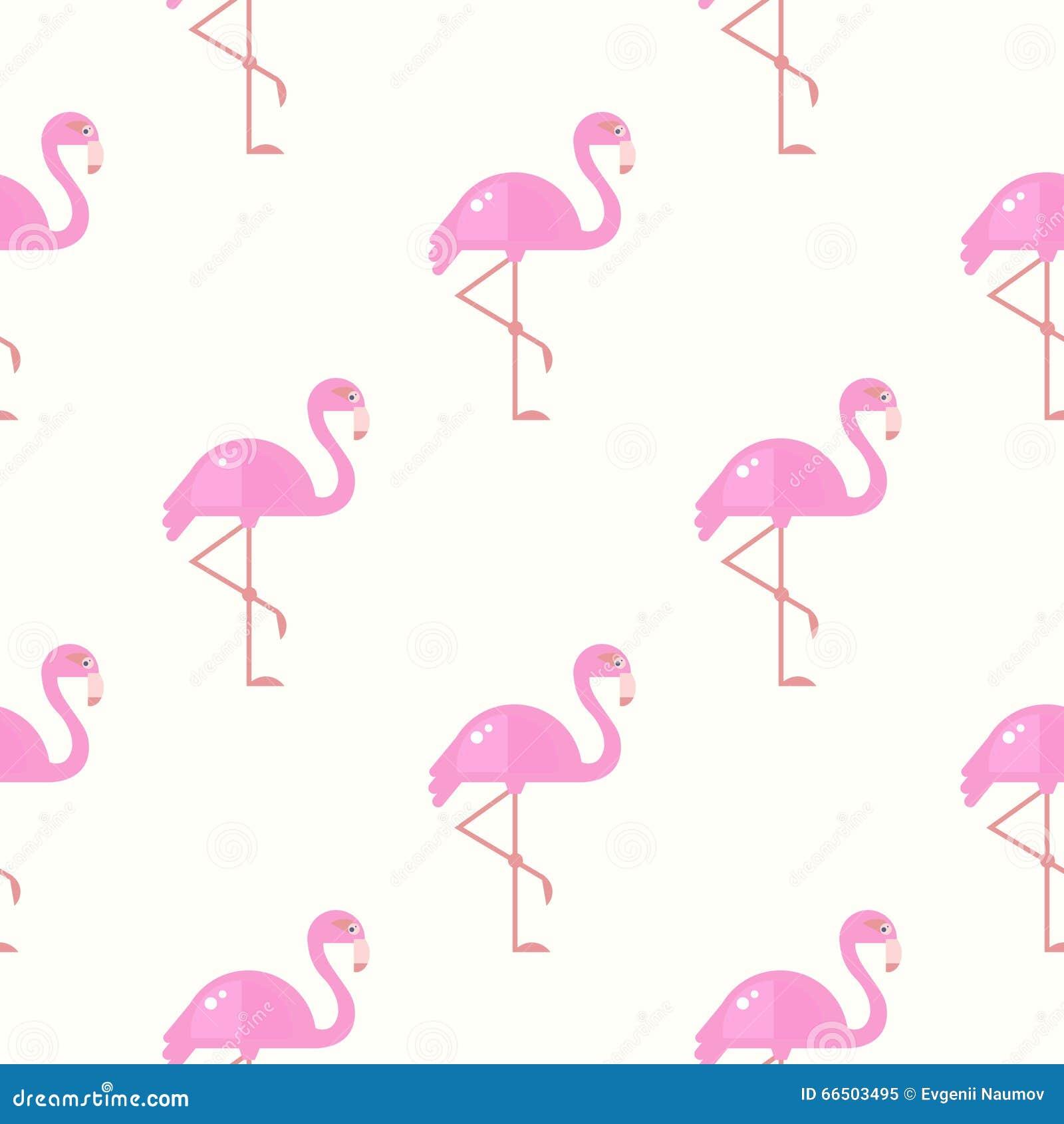 Flamingo Bird Background Retro Seamless Pattern In Vector