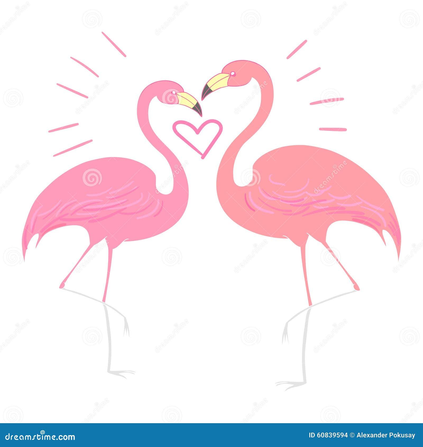 Flamingo Bird With Heart Vector Illustration Stock Vector