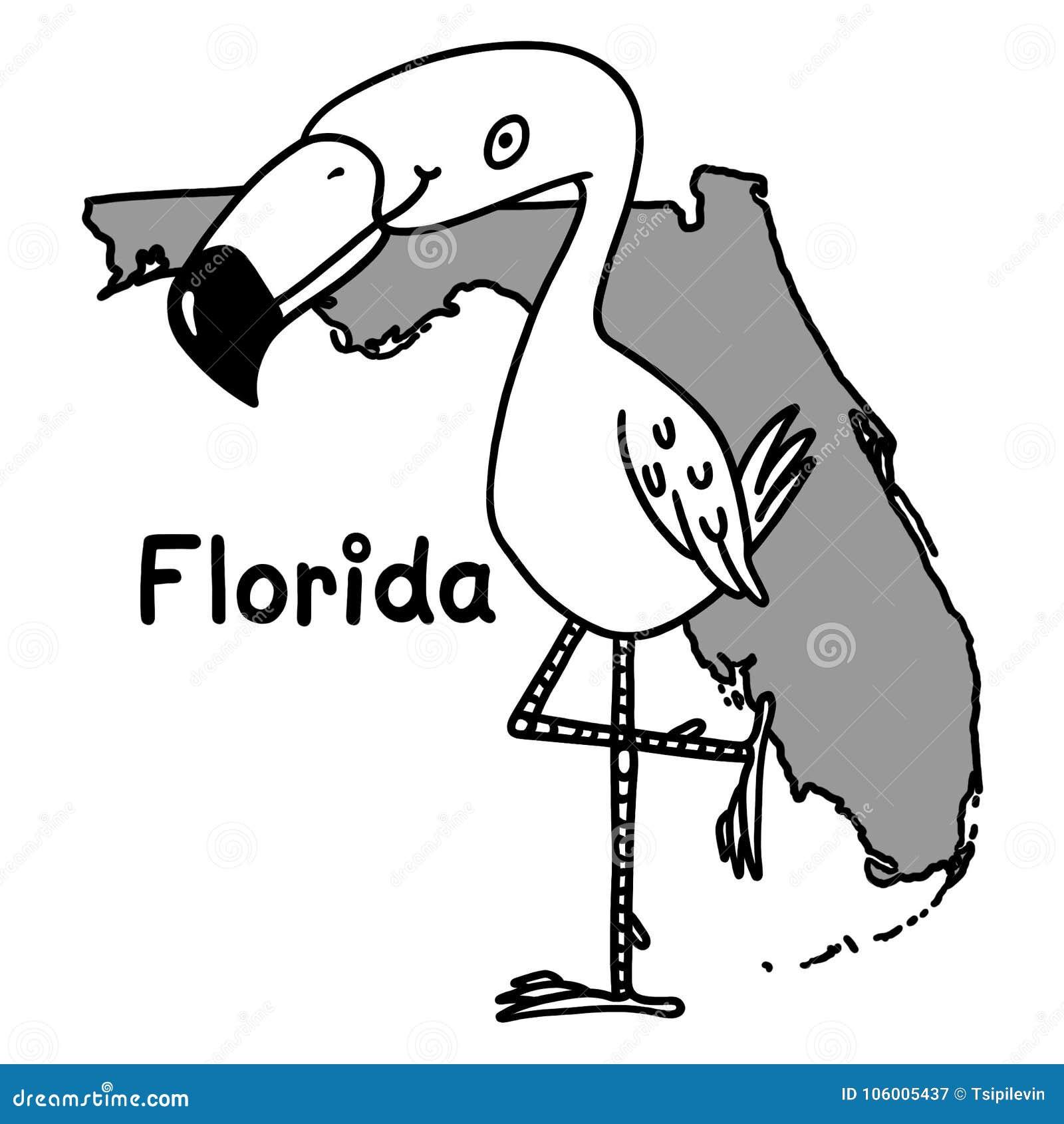 Florida Map Outline.Flamingo Bird Over Florida Map Outline Cartoon Stock Illustration