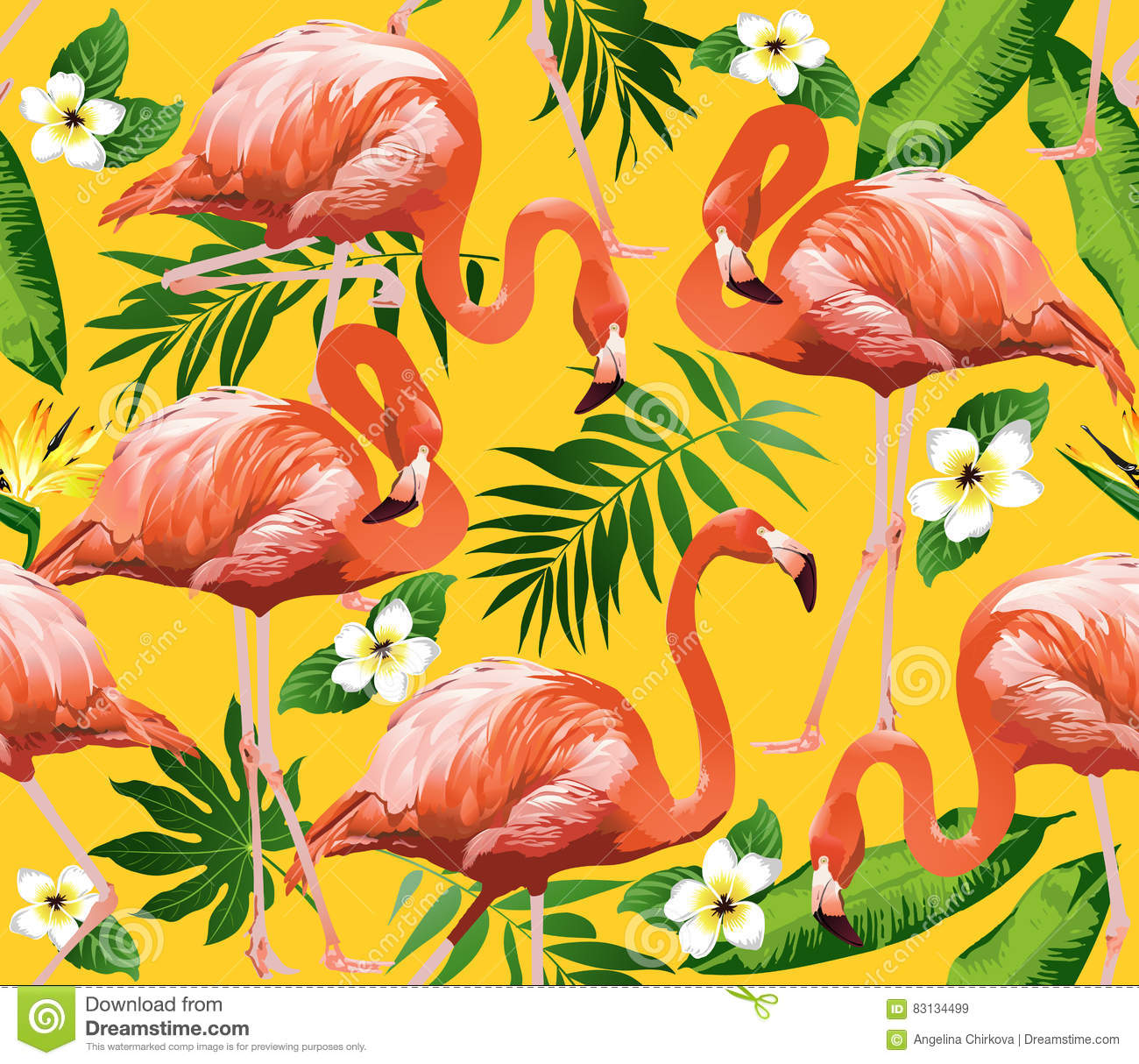 Flamingo Bird and Tropical Flowers Background