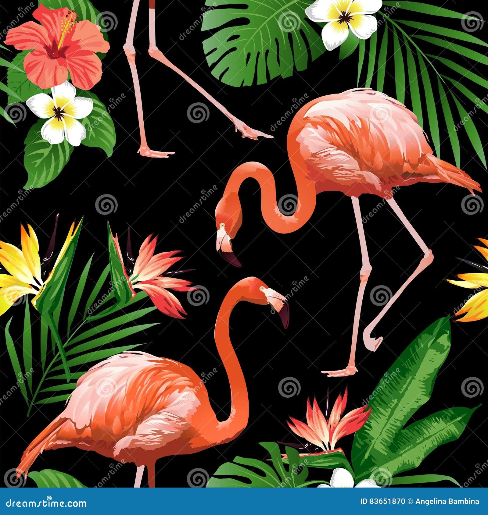 Flamingo Bird and Tropical Flowers Background