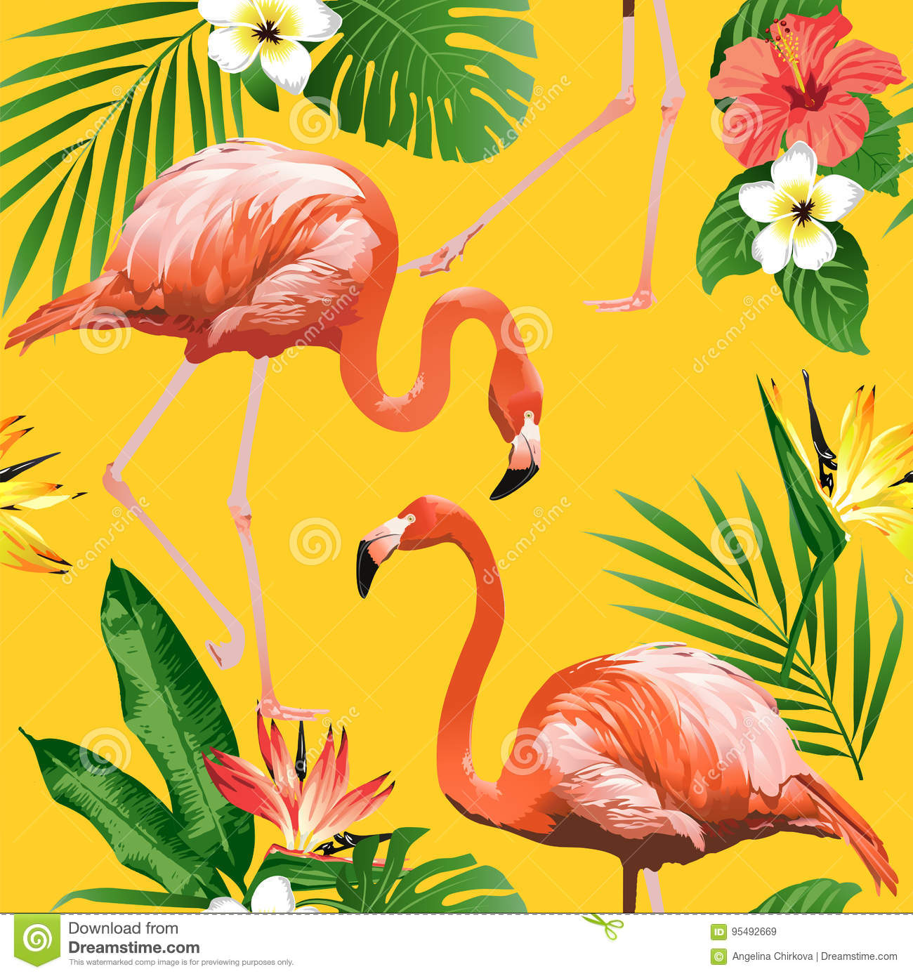 Flamingo Bird and Tropical Flowers Background - Seamless pattern