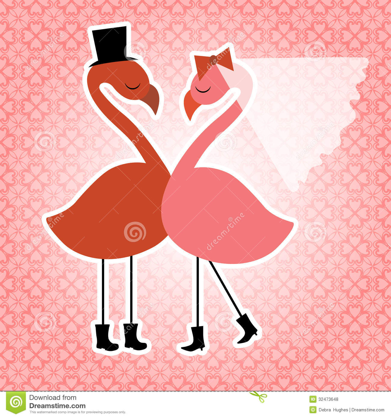 Flamingo Birds Wedding Invitation Stock Vector - Illustration of ...