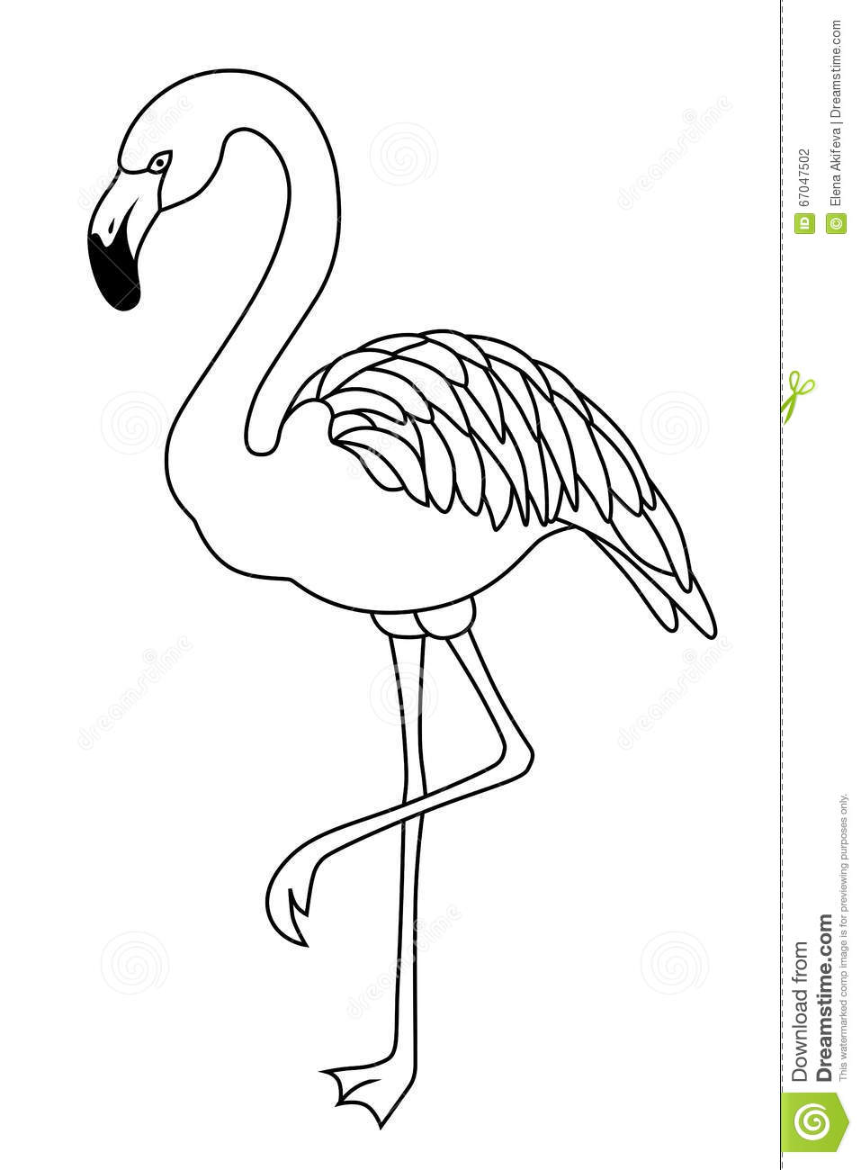Flamingo Black White Bird Illustration Stock Vector ... Flamingo Outline