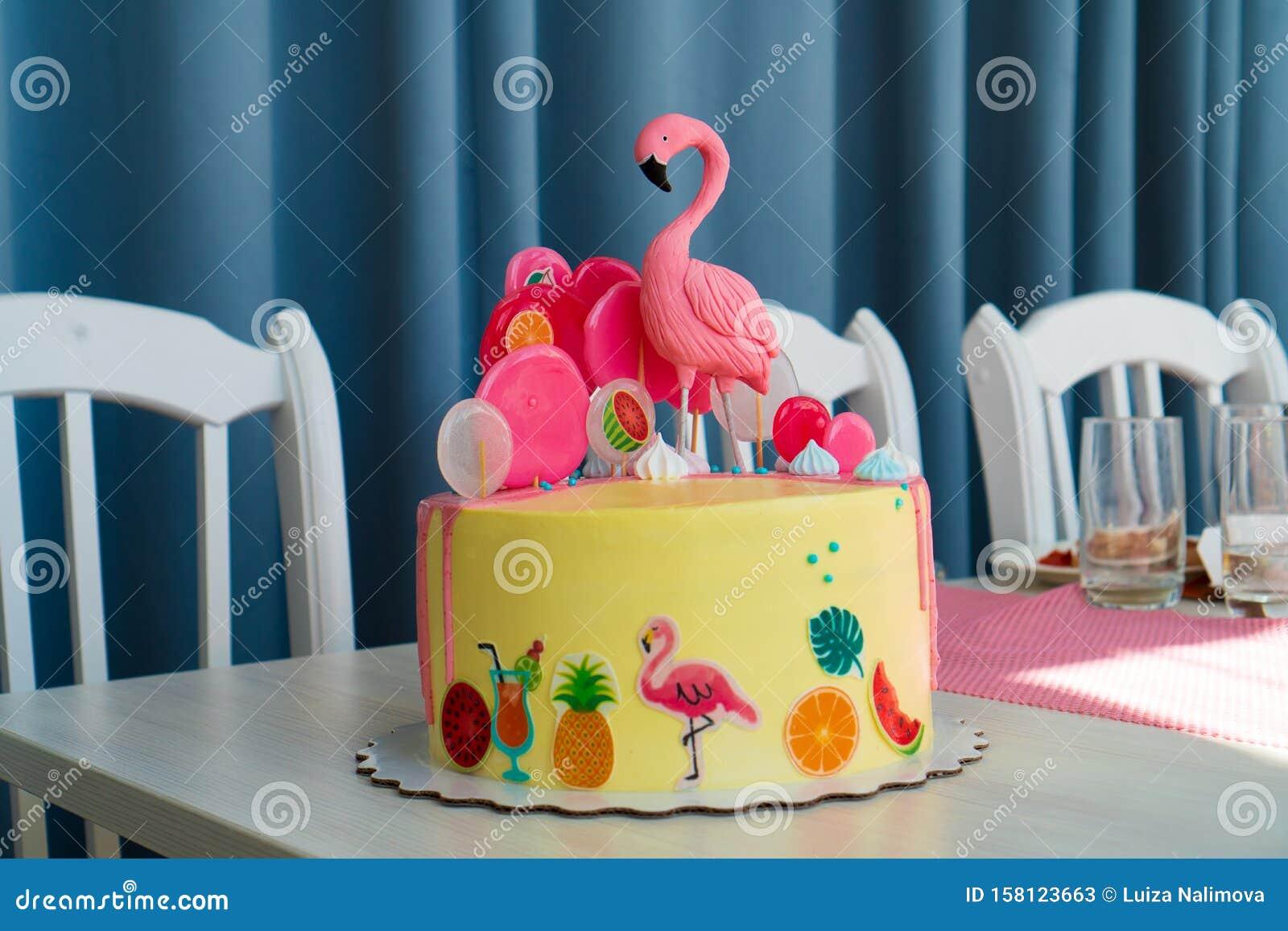 Stupendous Flamingo Cake At The Hawaiian Party Childrens Birthday Cake Aon Funny Birthday Cards Online Fluifree Goldxyz