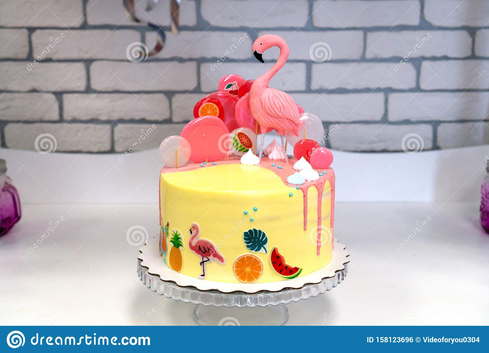 Admirable Flamingo Cake At The Hawaiian Party Childrens Birthday Cake At Personalised Birthday Cards Cominlily Jamesorg