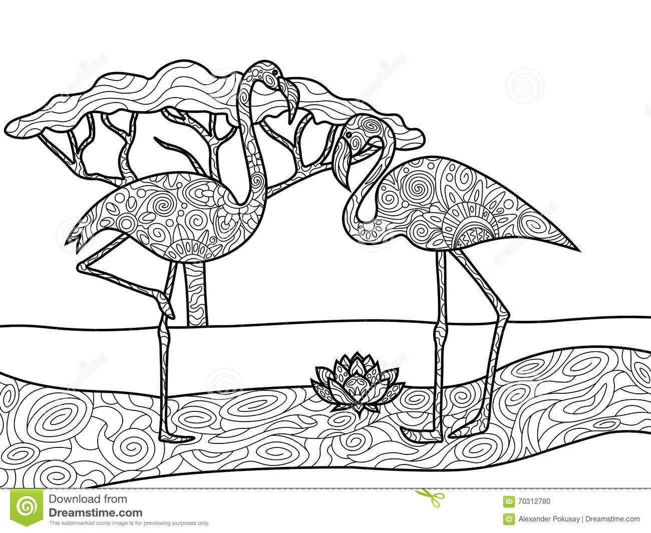 Coloring sheets for adults flamingo - Flamingo Coloring Pages For Adults