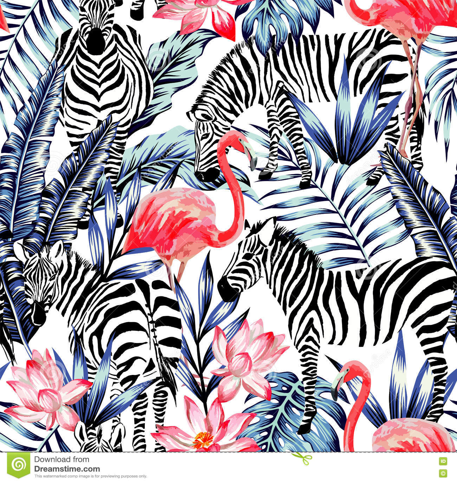 Flamingo cor-de-rosa da aquarela, zebra e SE tropical das folhas de palmeira azuis