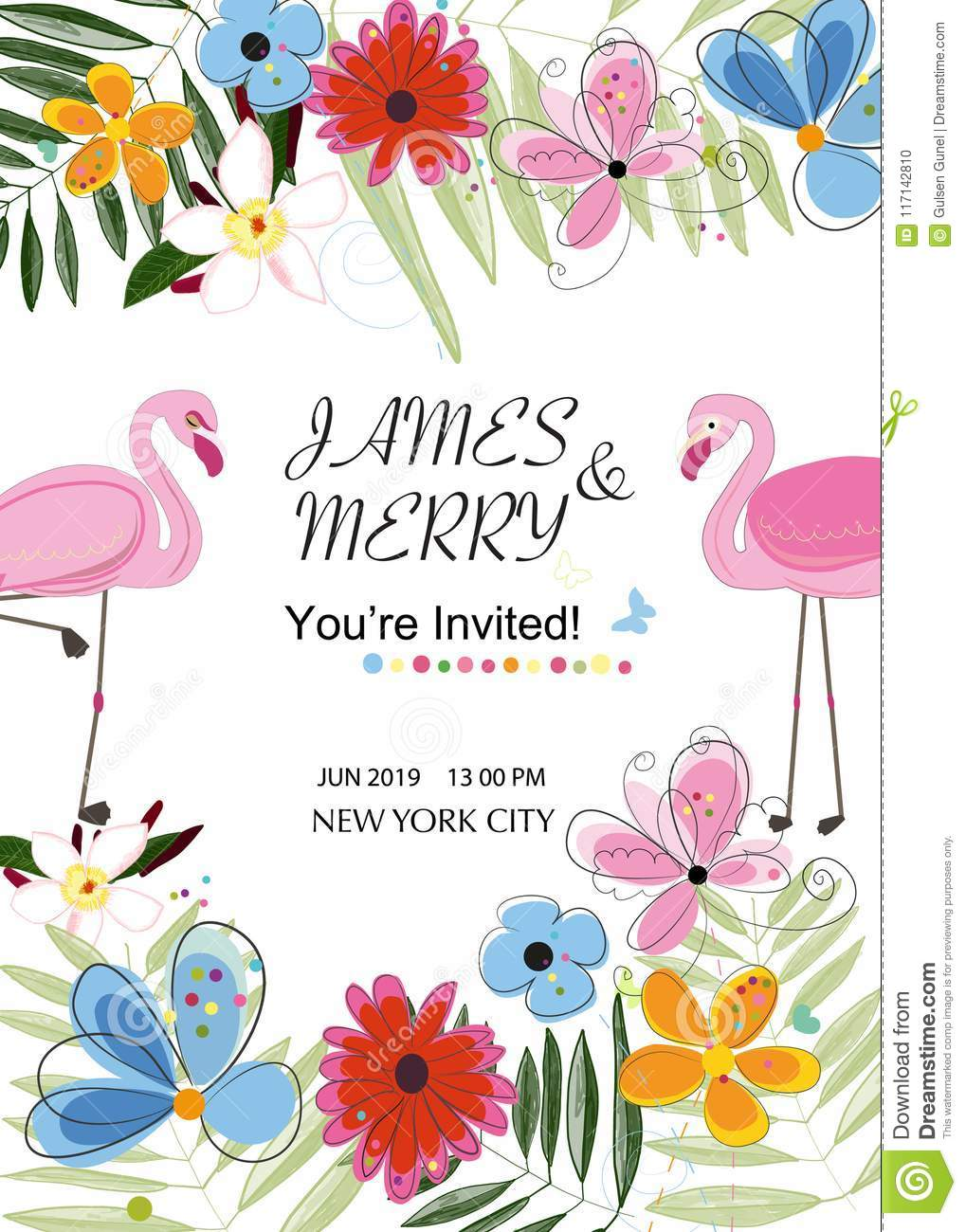 Flamingo Couple. Colorful Wedding Invitation Card. Flamingo Theme ...