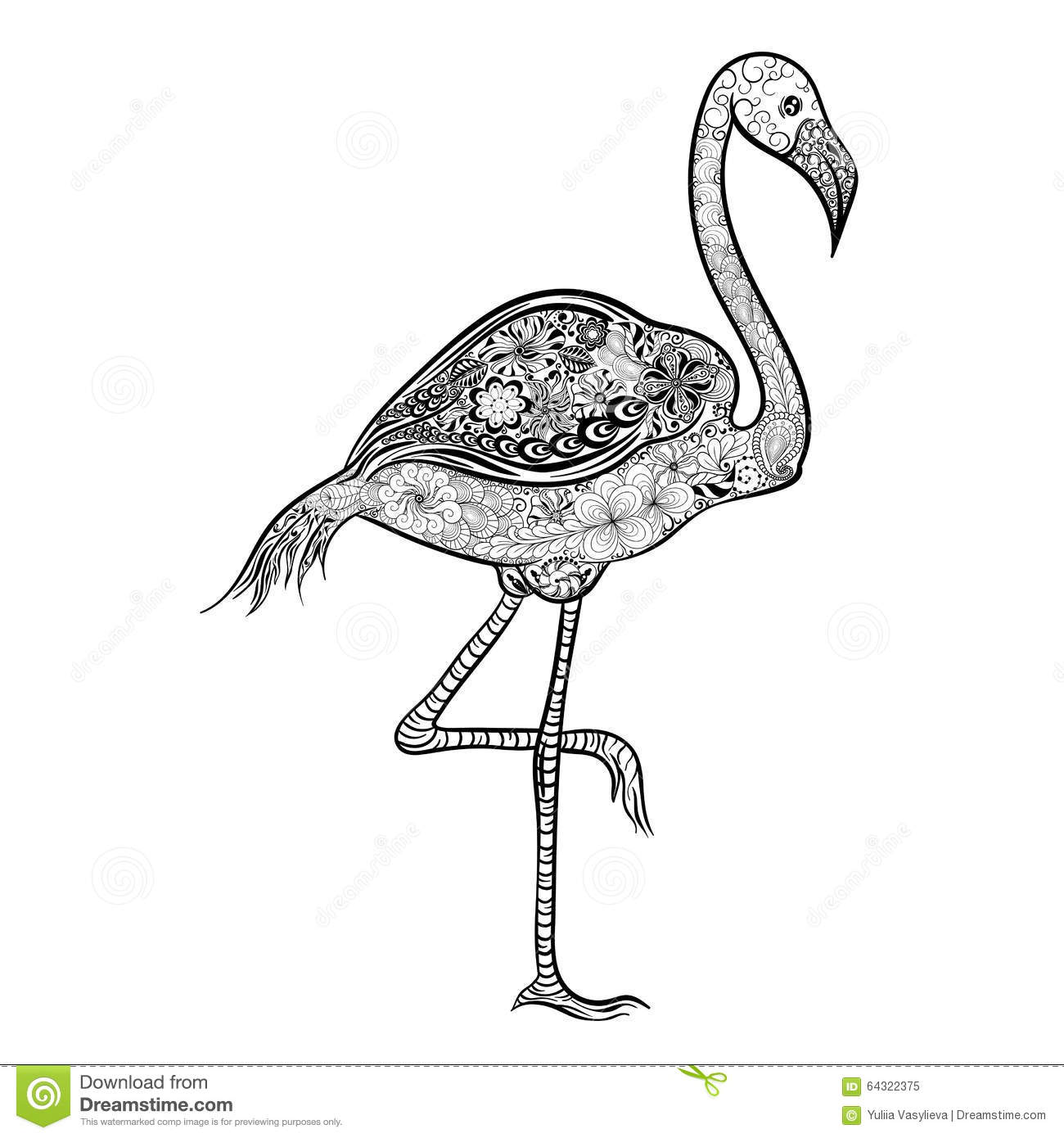 Illustration Flamingo Was Created In Doodling Style Black And White