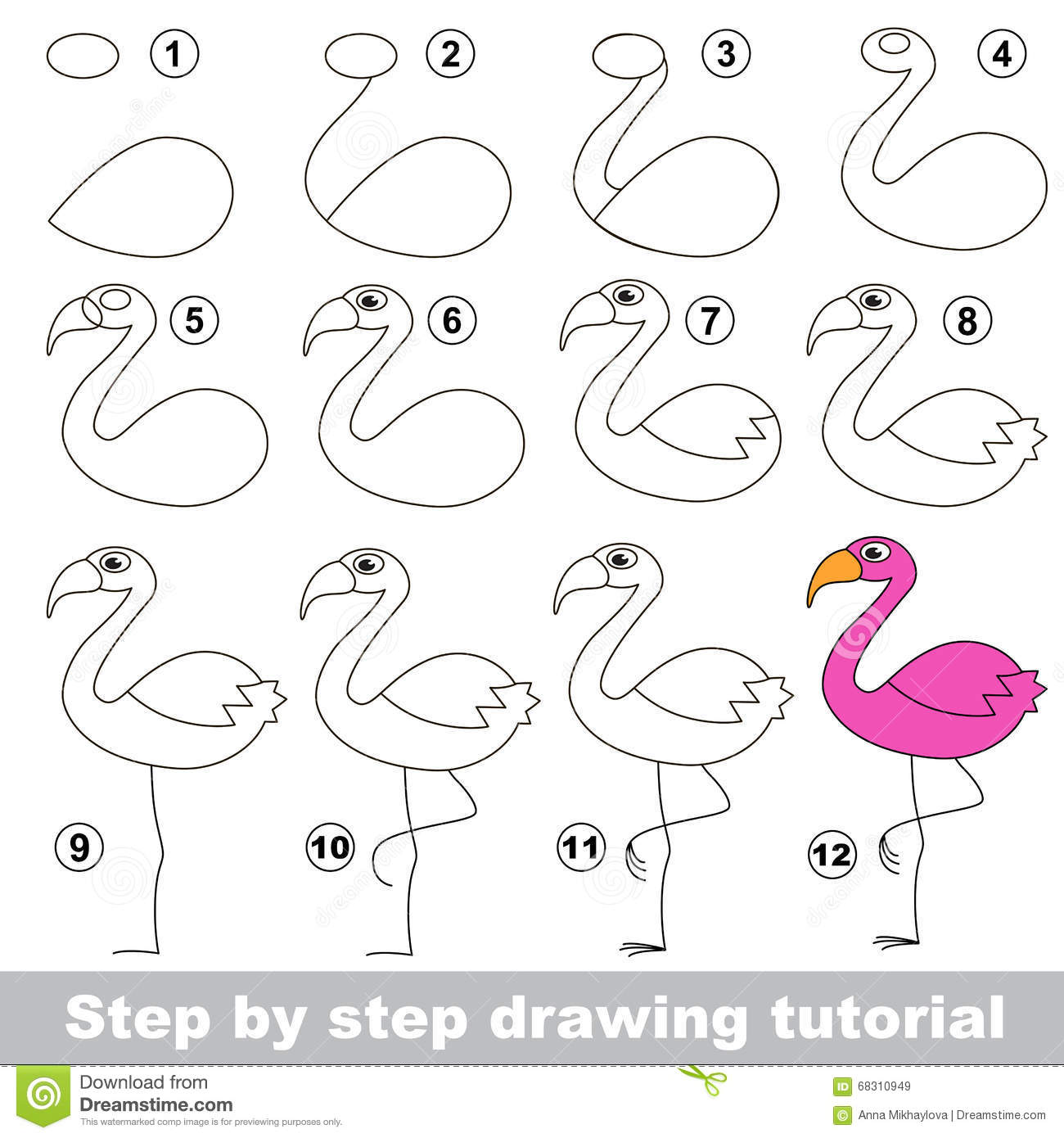 Flamingo Drawing Tutorial Stock Vector Illustration Of Preschool
