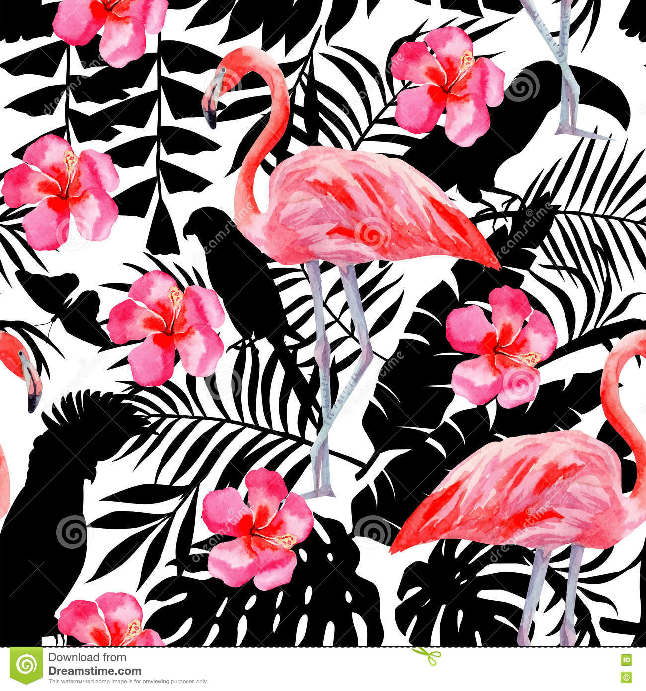 Flamingo And Hibiscus Watercolor Pattern  Parrots And