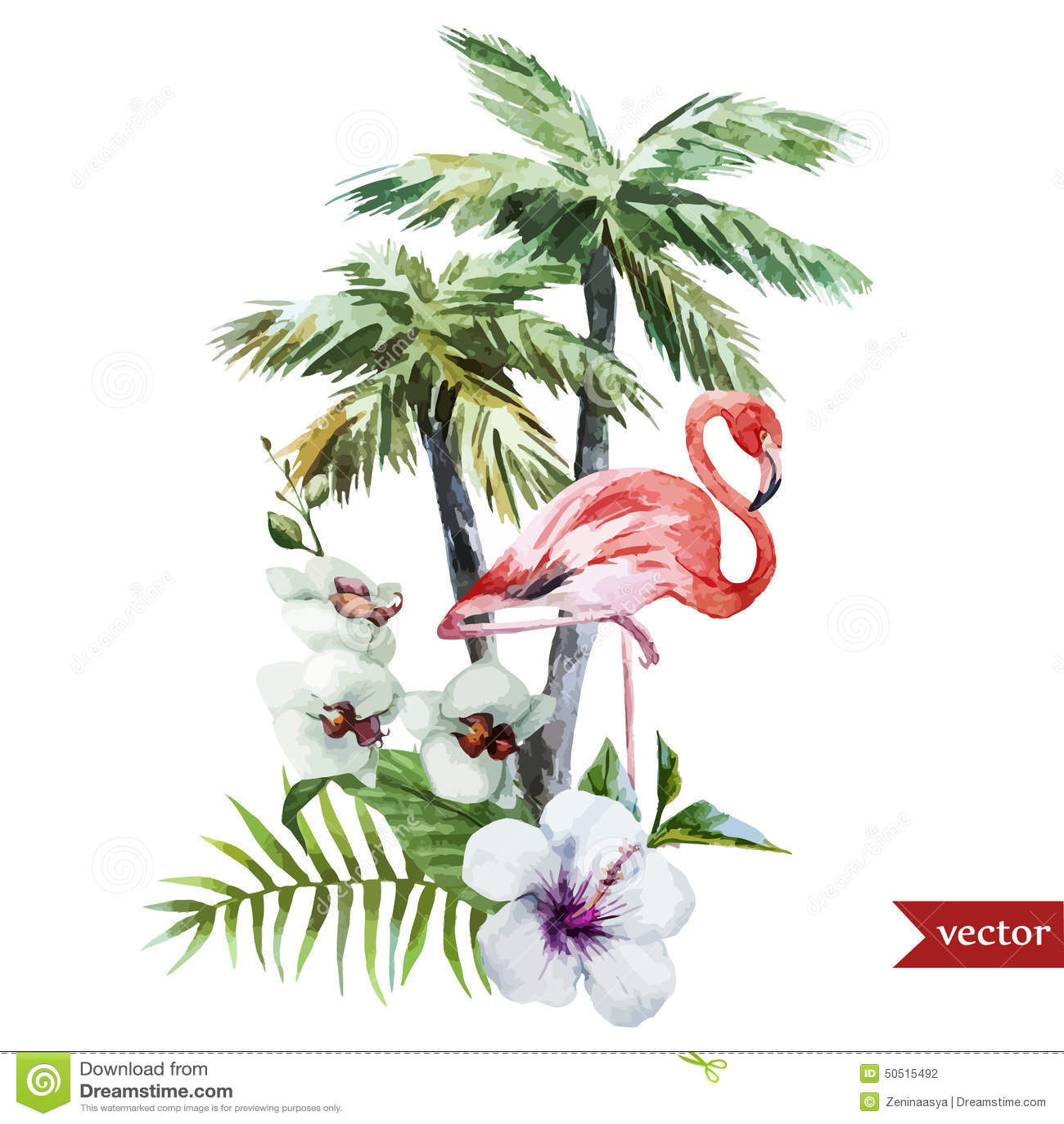 flamingo mit palmen und blumen vektor abbildung bild. Black Bedroom Furniture Sets. Home Design Ideas