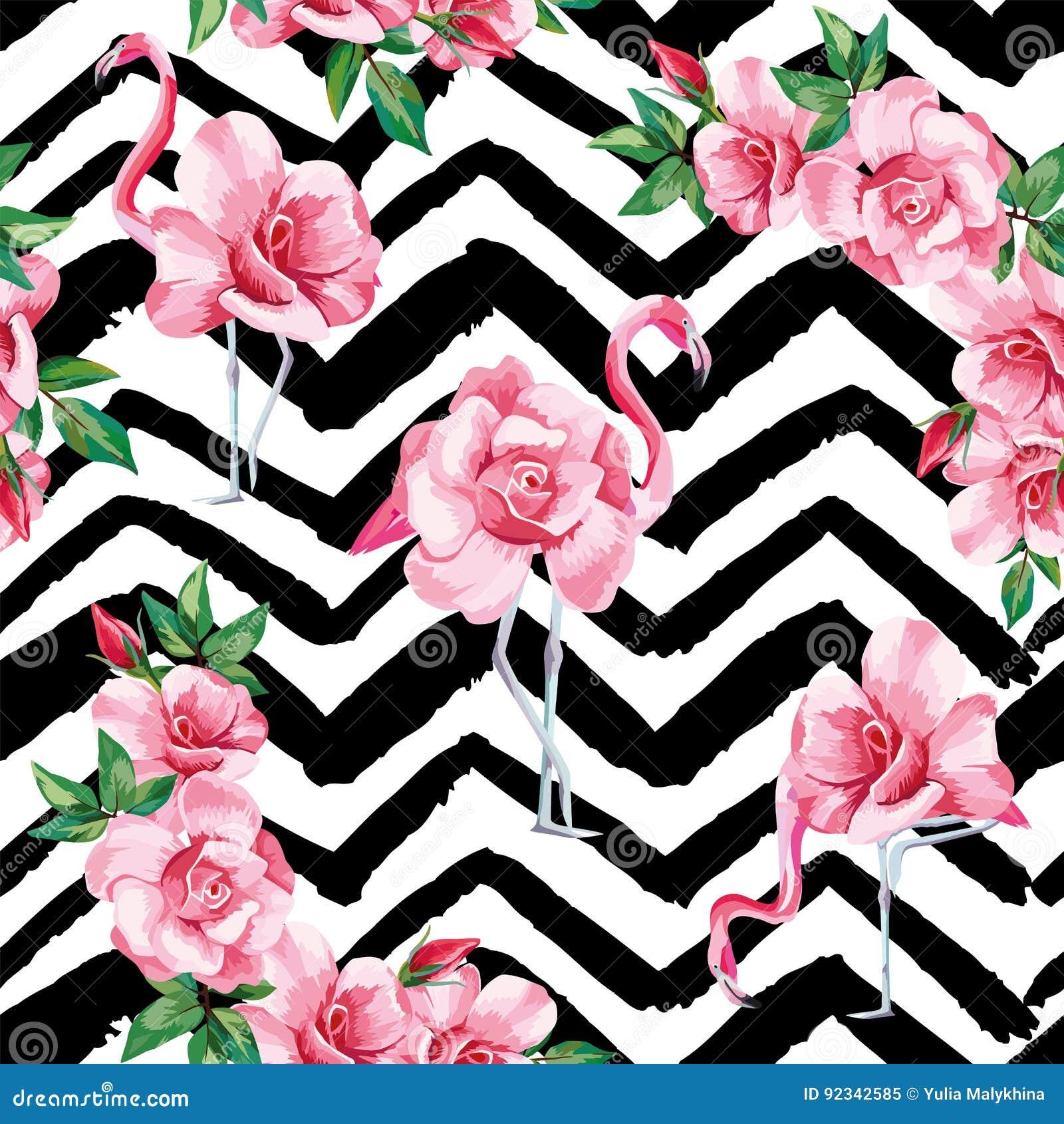 Flamingo Roses Seamless Pattern Black White Zigzag ...