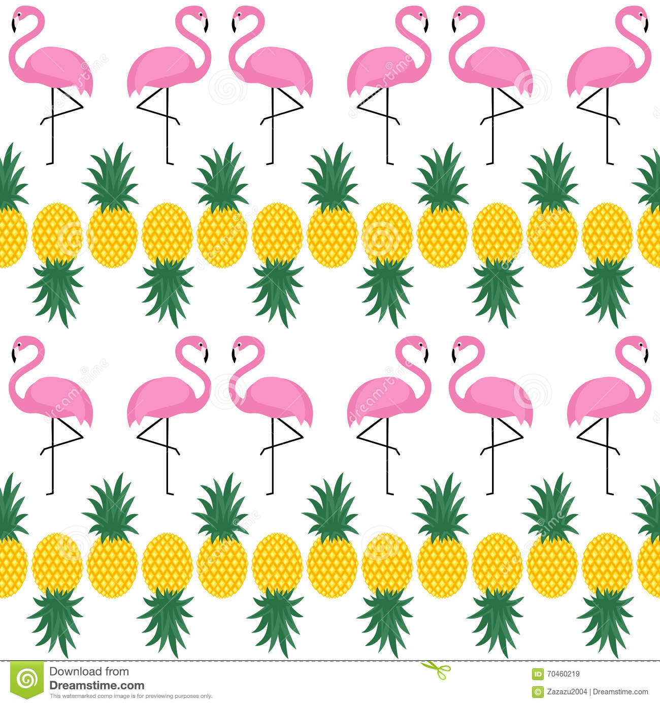 Flamingo Seamless Pattern With Pineapples On White Background Stock