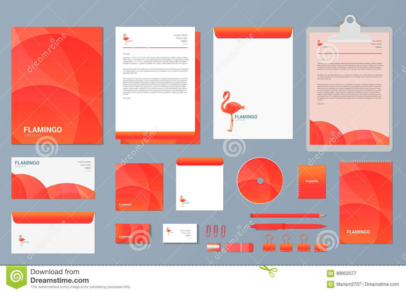 flamingo set of business stationery corporate branding identity and