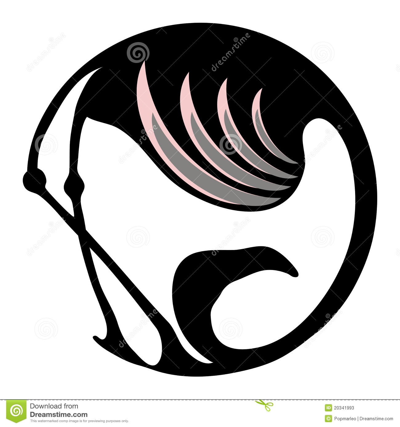 Flamingo stylized symbol or logo in a circle
