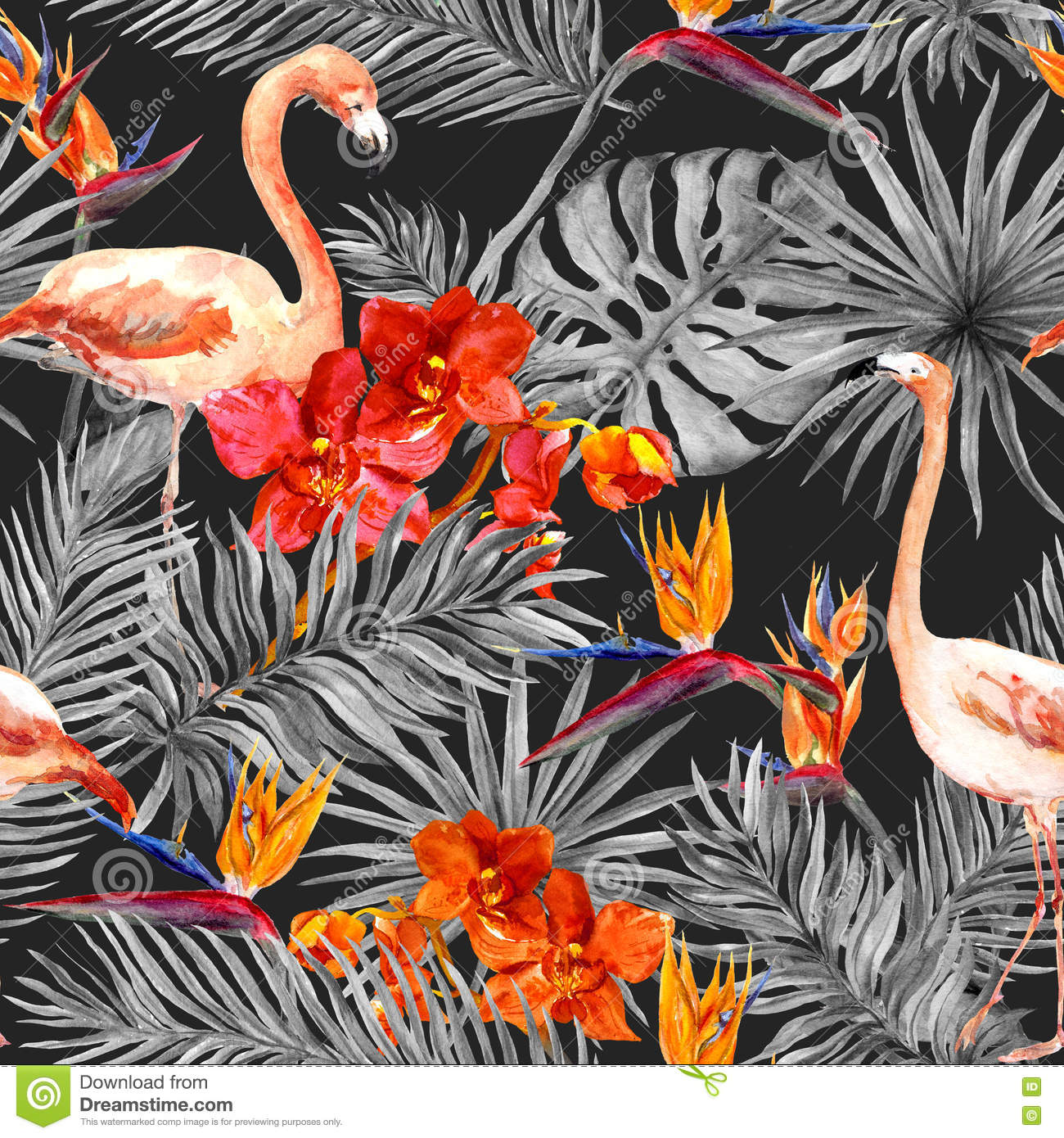 flamingo tropical leaves exotic flowers seamless