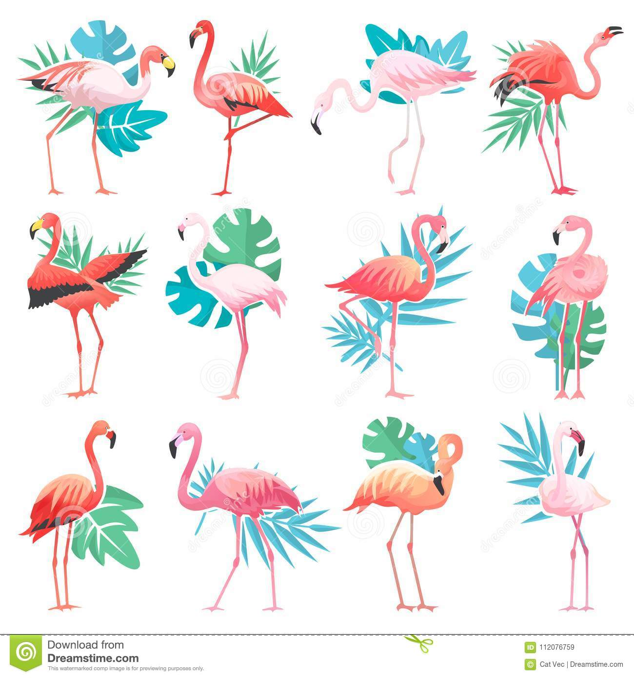 Flamingo Vector Tropical Pink Flamingos And Exotic Bird With Palm
