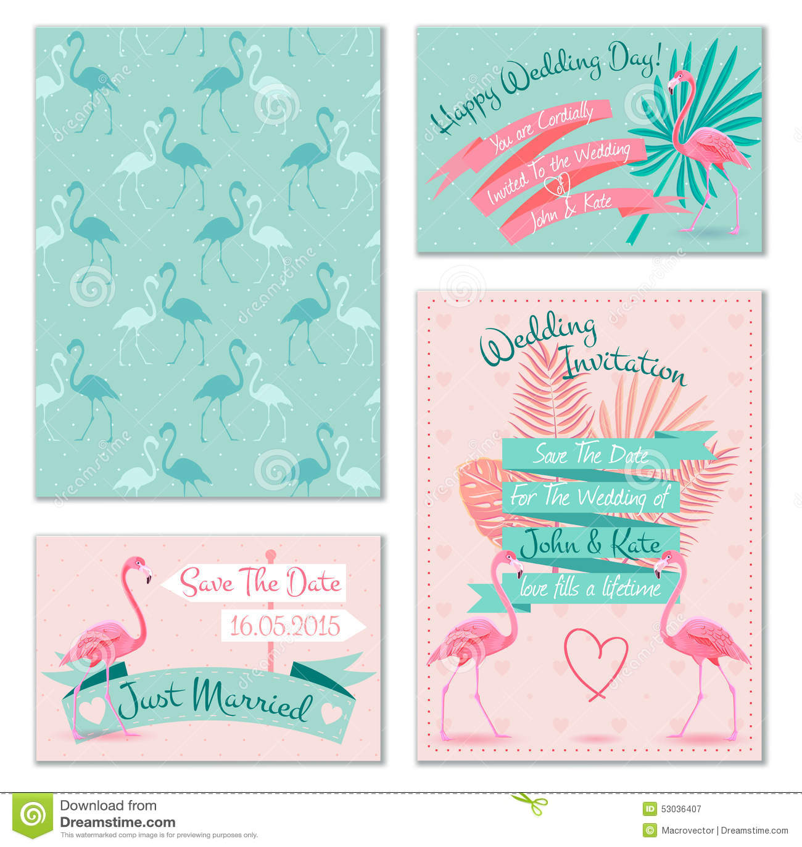 Flamingo Wedding Invitation Cards Stock Vector