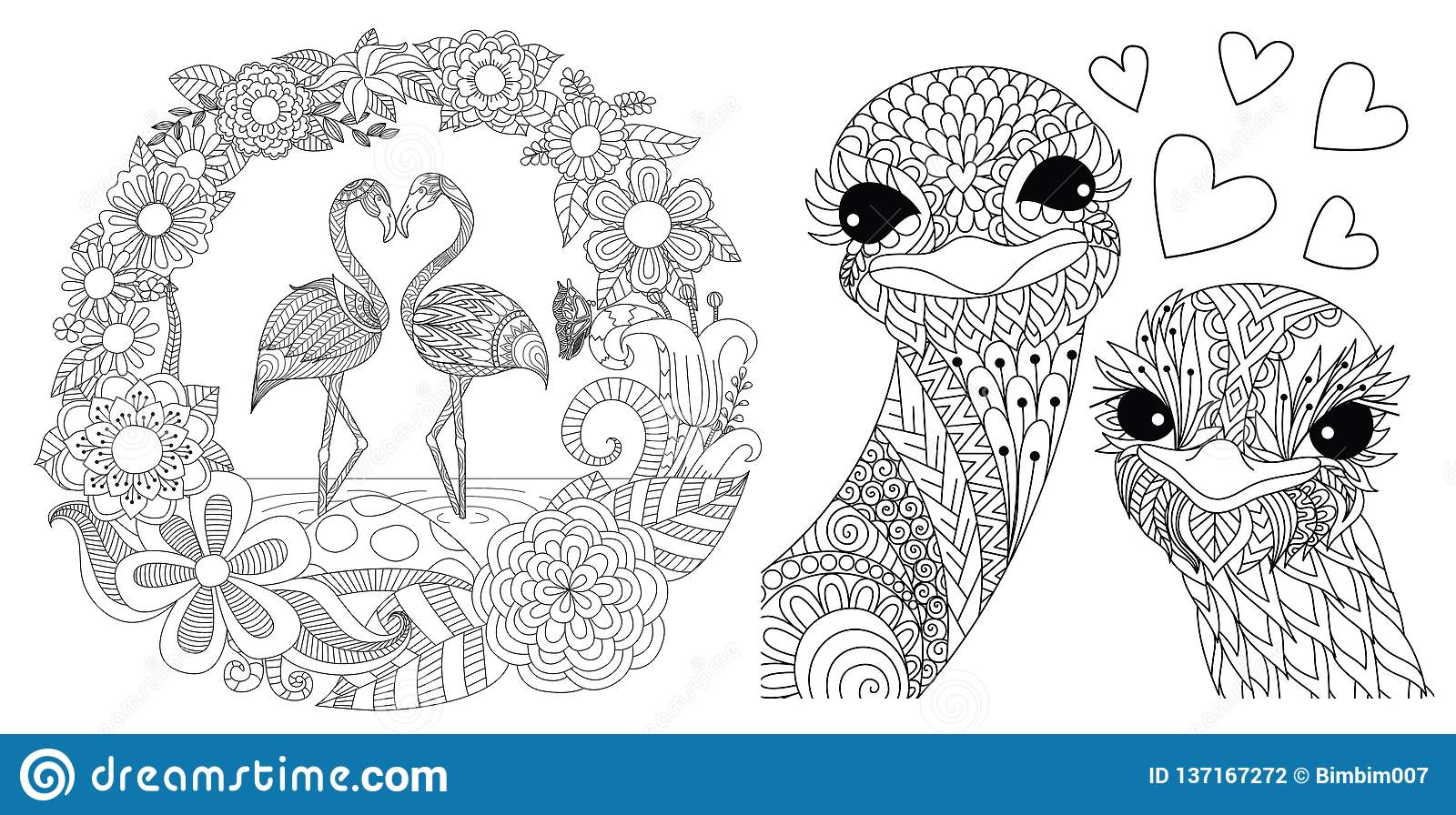Flamingos and ostriches stock vector. Illustration of ...